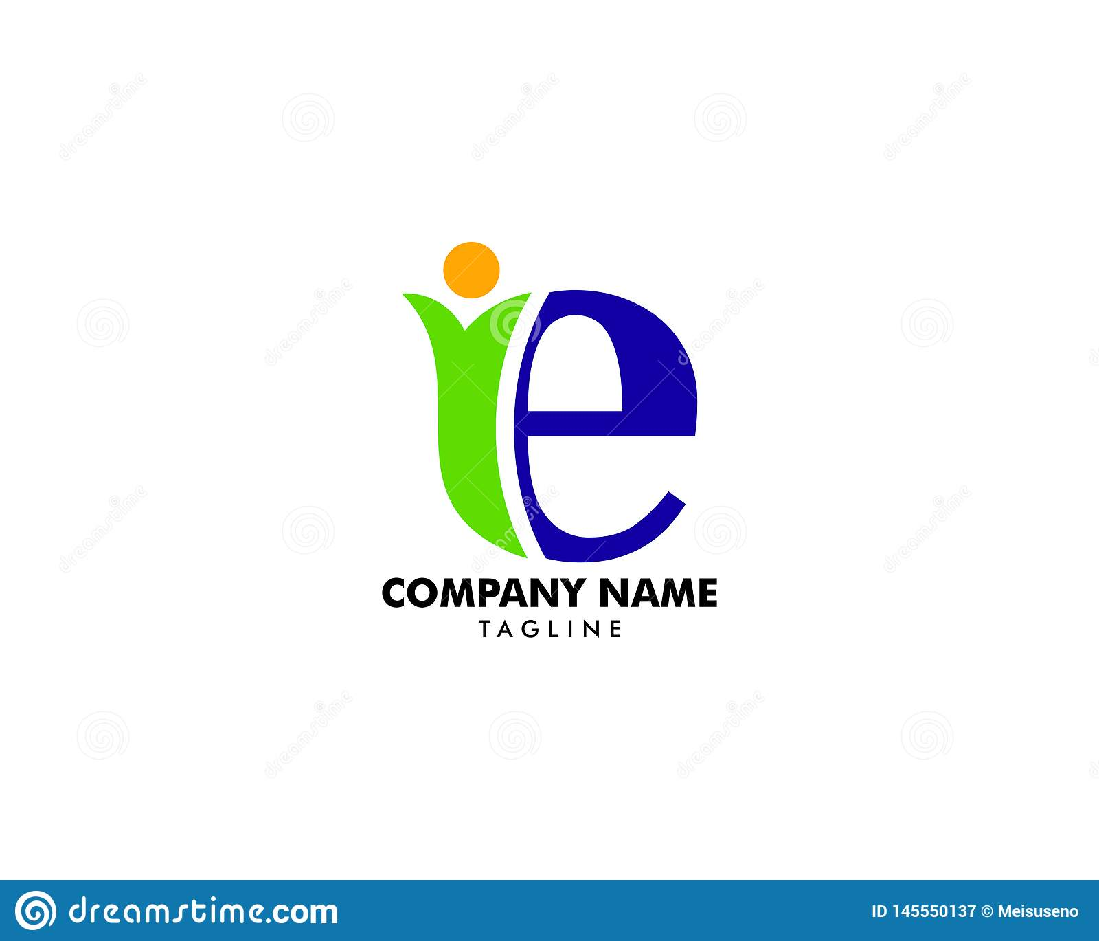 Initial letter E logo with people shape, health care symbol, charity icons