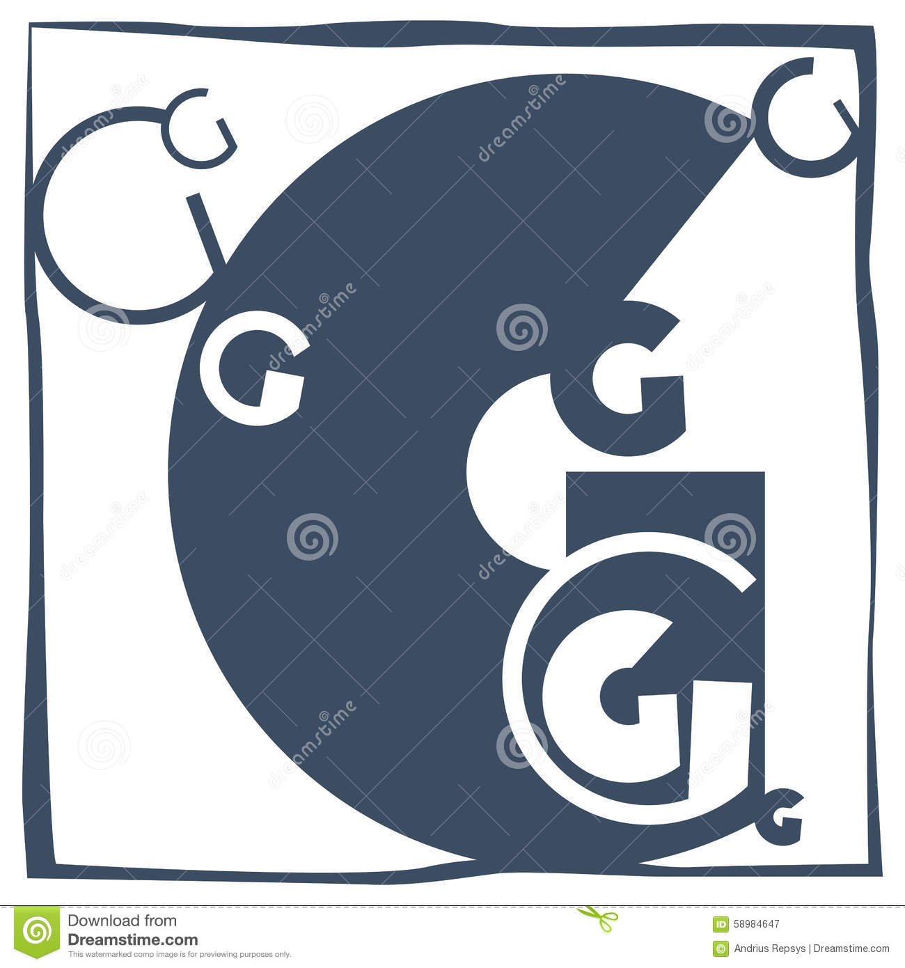 Initial letter g stock vector image 58984647 for Letter g decoration