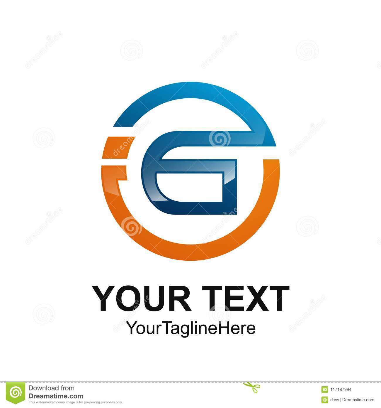 initial letter gi or ig logo template colored orange blue circle