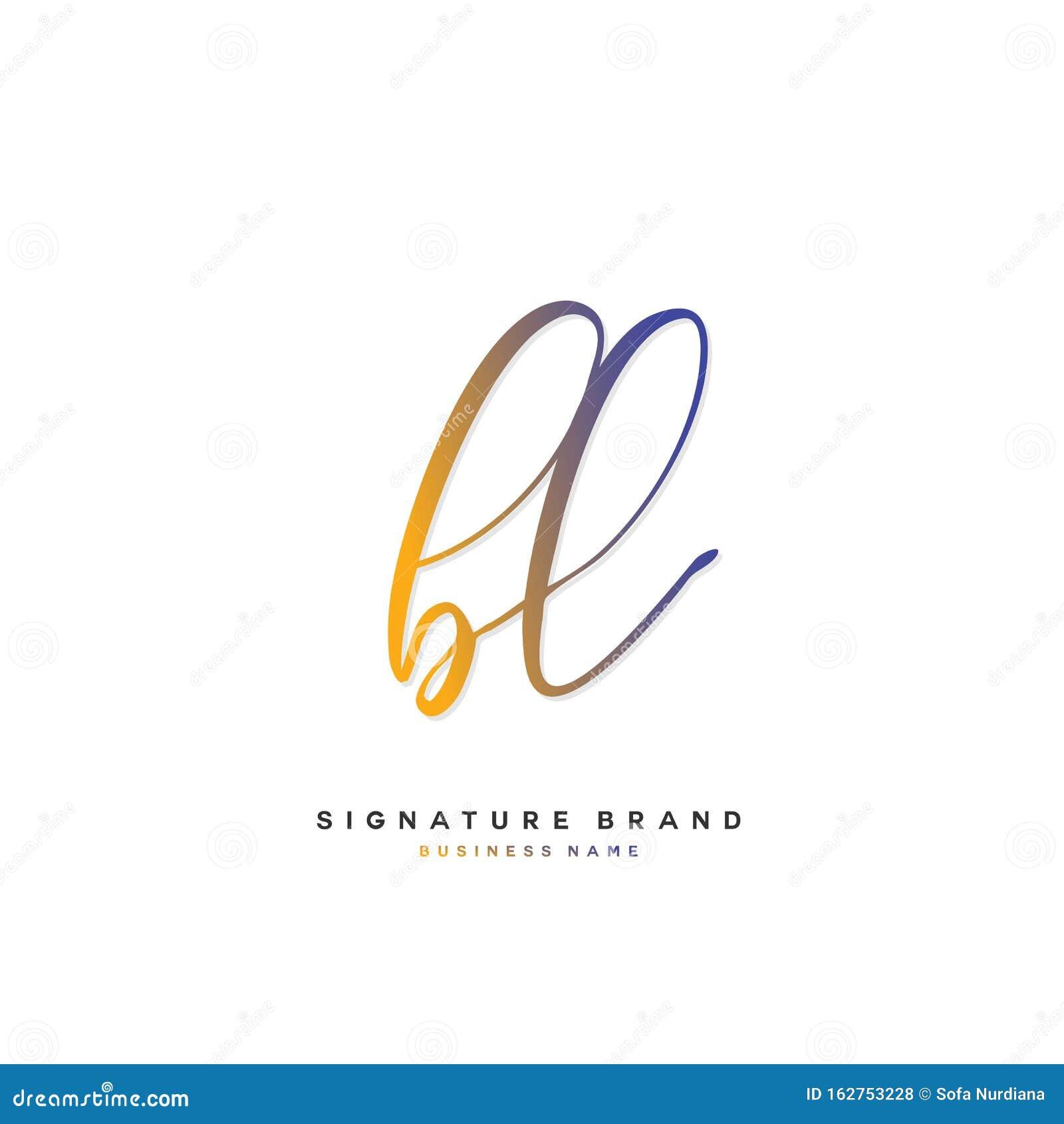 B L Bl Initial Letter Handwriting And Signature Logo Concept Design Stock Vector Illustration Of Monogram Icon 162753228