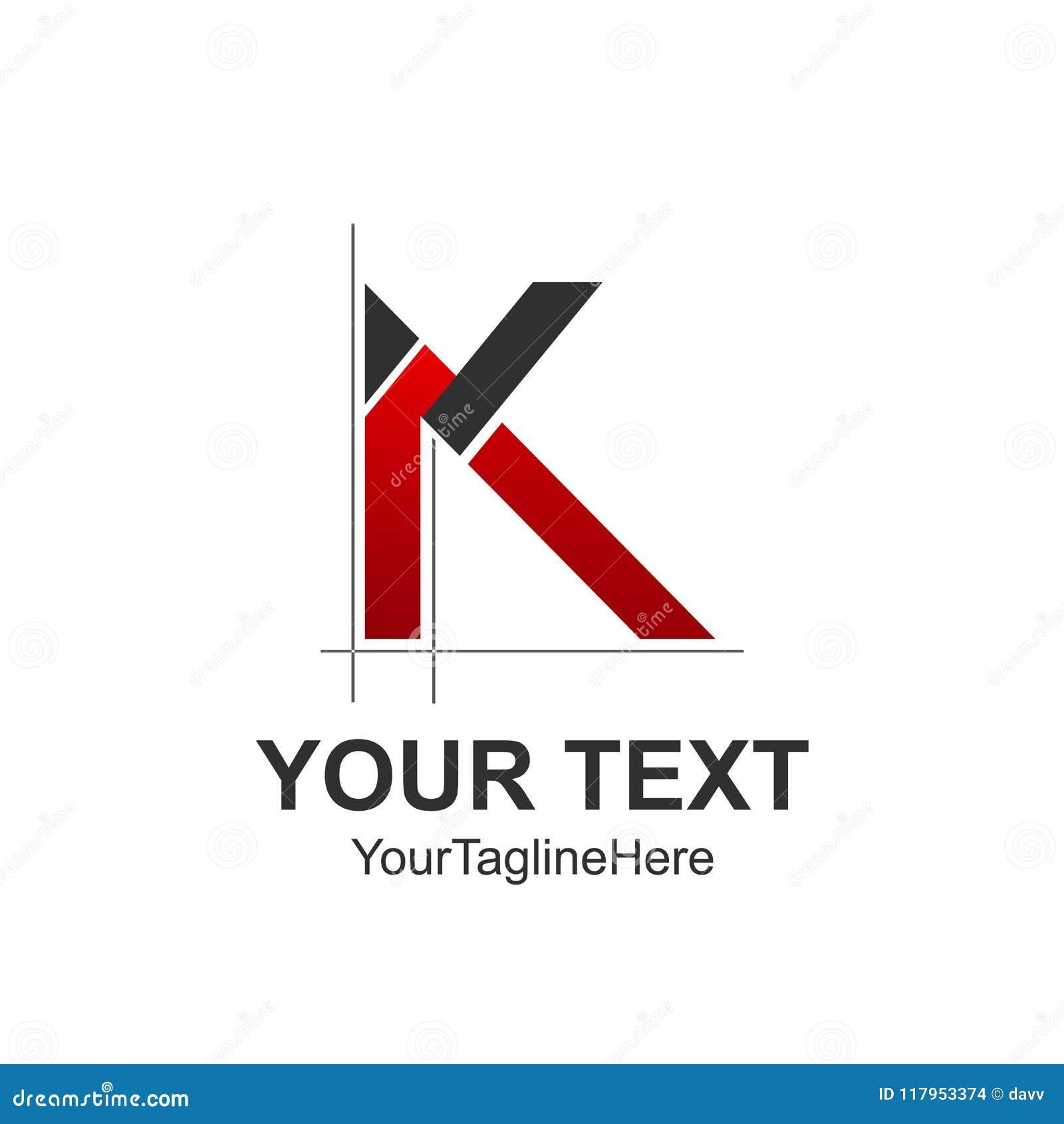 initial letter k logo design template element colored red black
