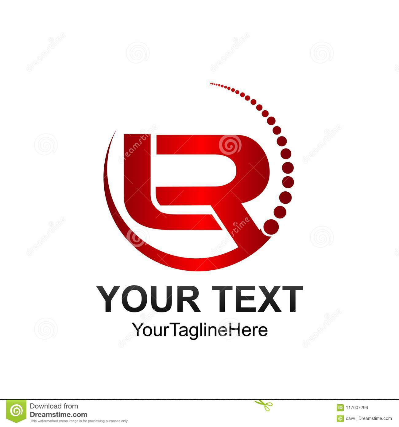 Initial letter LR logo template colored red circle swoosh design