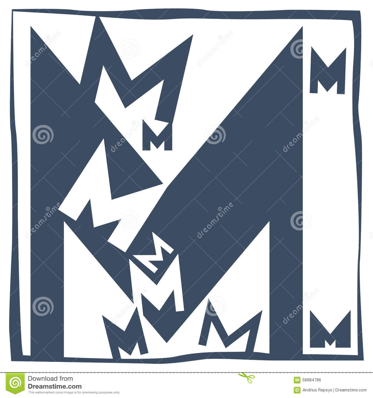 Initial Letter M Stock Vector Illustration Of Consisting 58984786