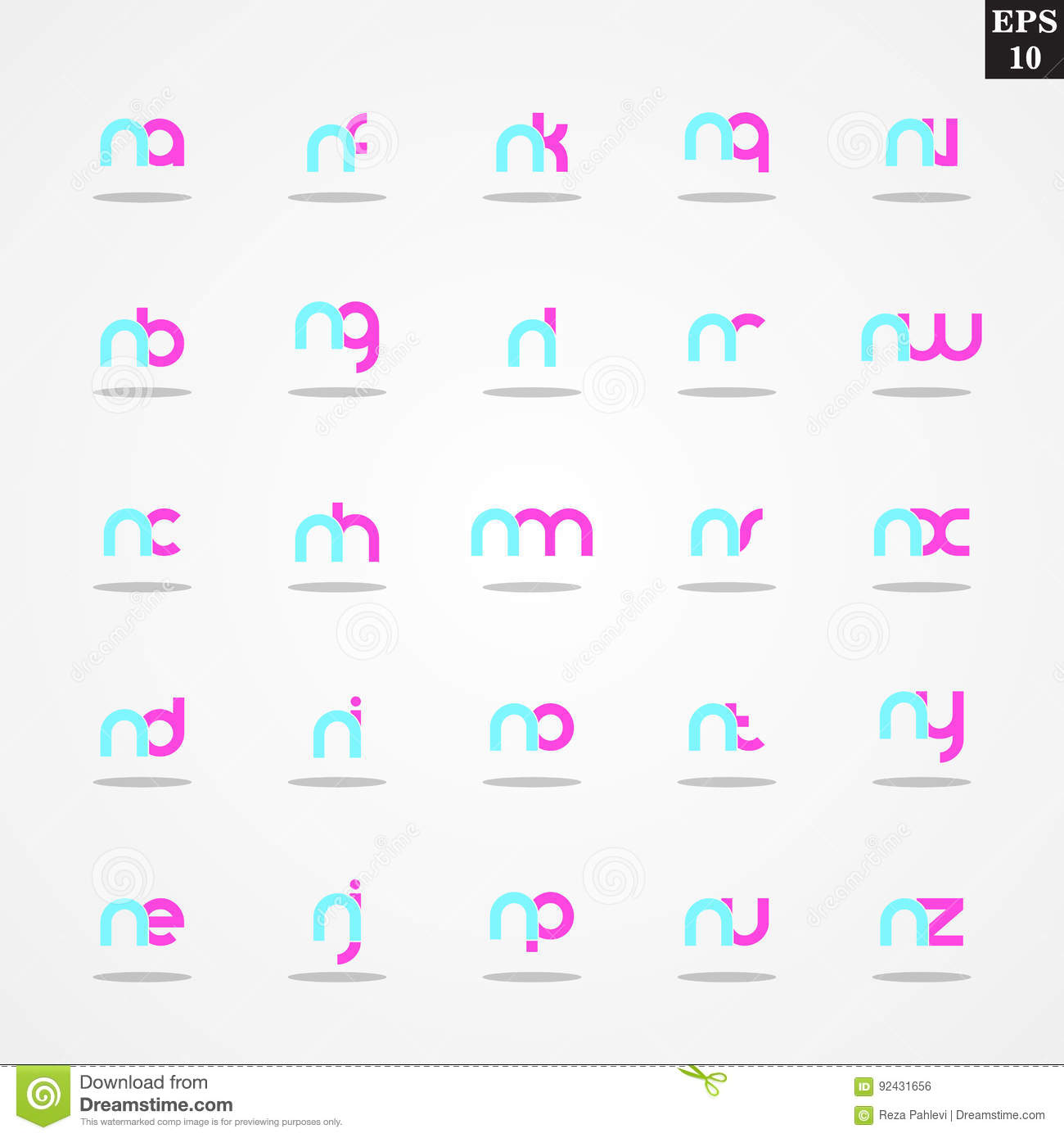 Initial letter n compilation from a to z lowercase logo design initial letter n compilation from a to z lowercase logo design template colorful maxwellsz