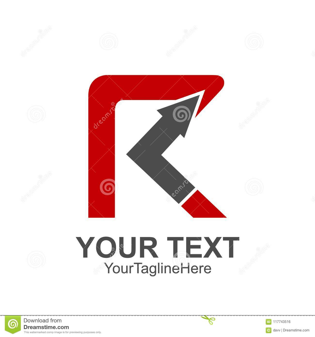 Initial Letter R Logo Template Colored Red Arrow Up Design