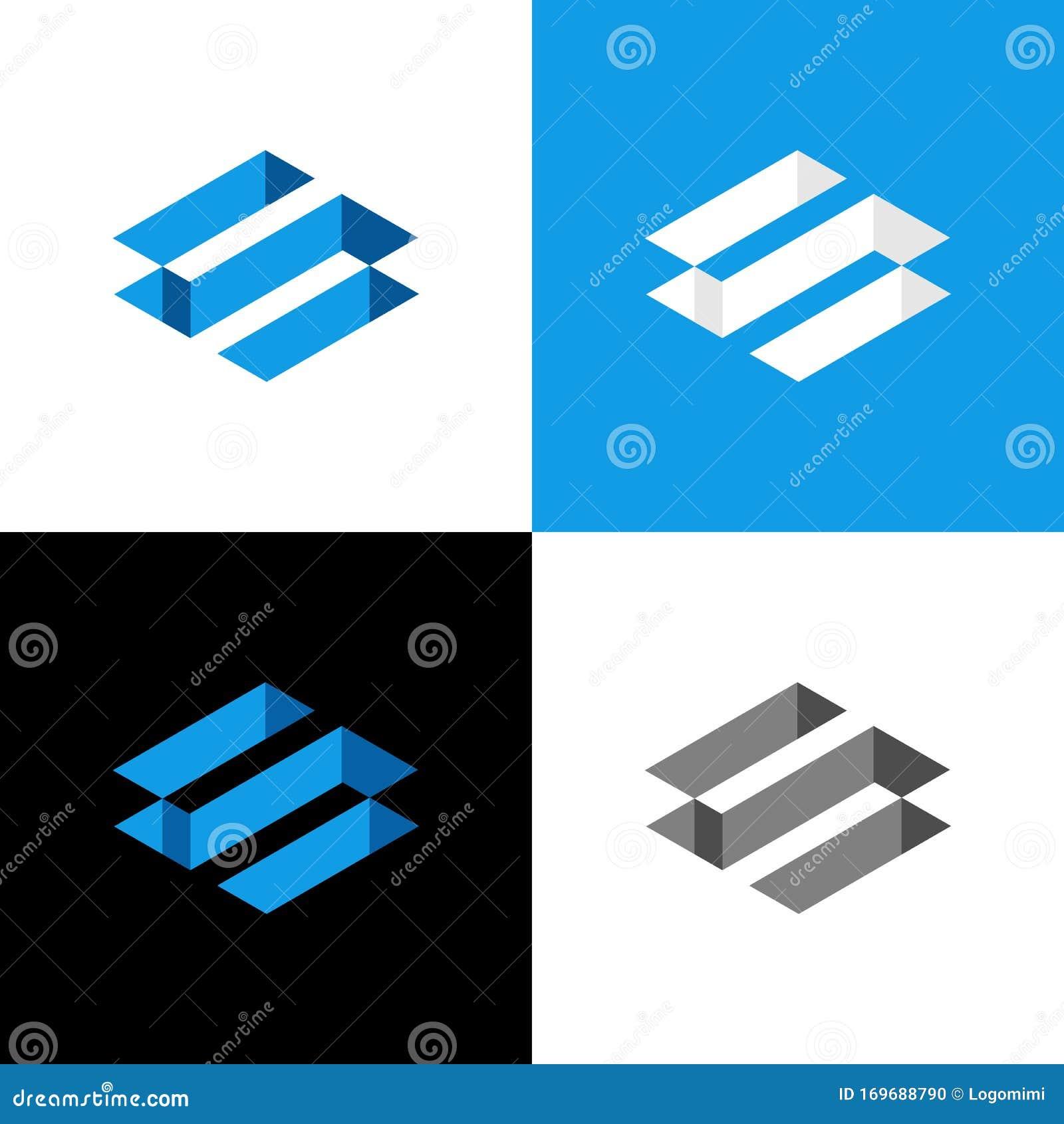 Initial Letter S, 3D Isometric Logo Design Template