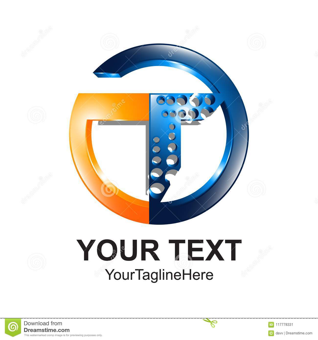 b6ee641fe Initial letter T logo template colored orange blue circle design. Download  preview