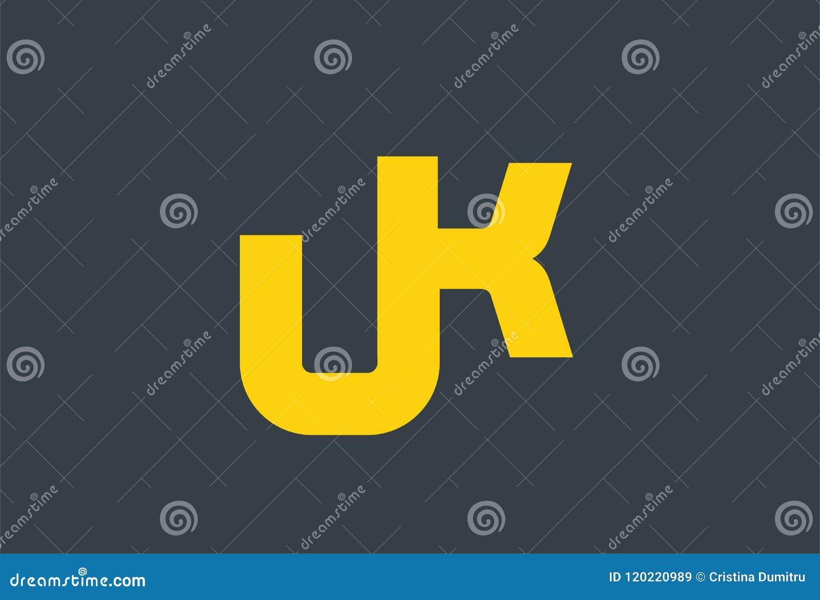 Initial Letter UK Yellow Logo Design Stock Vector ...