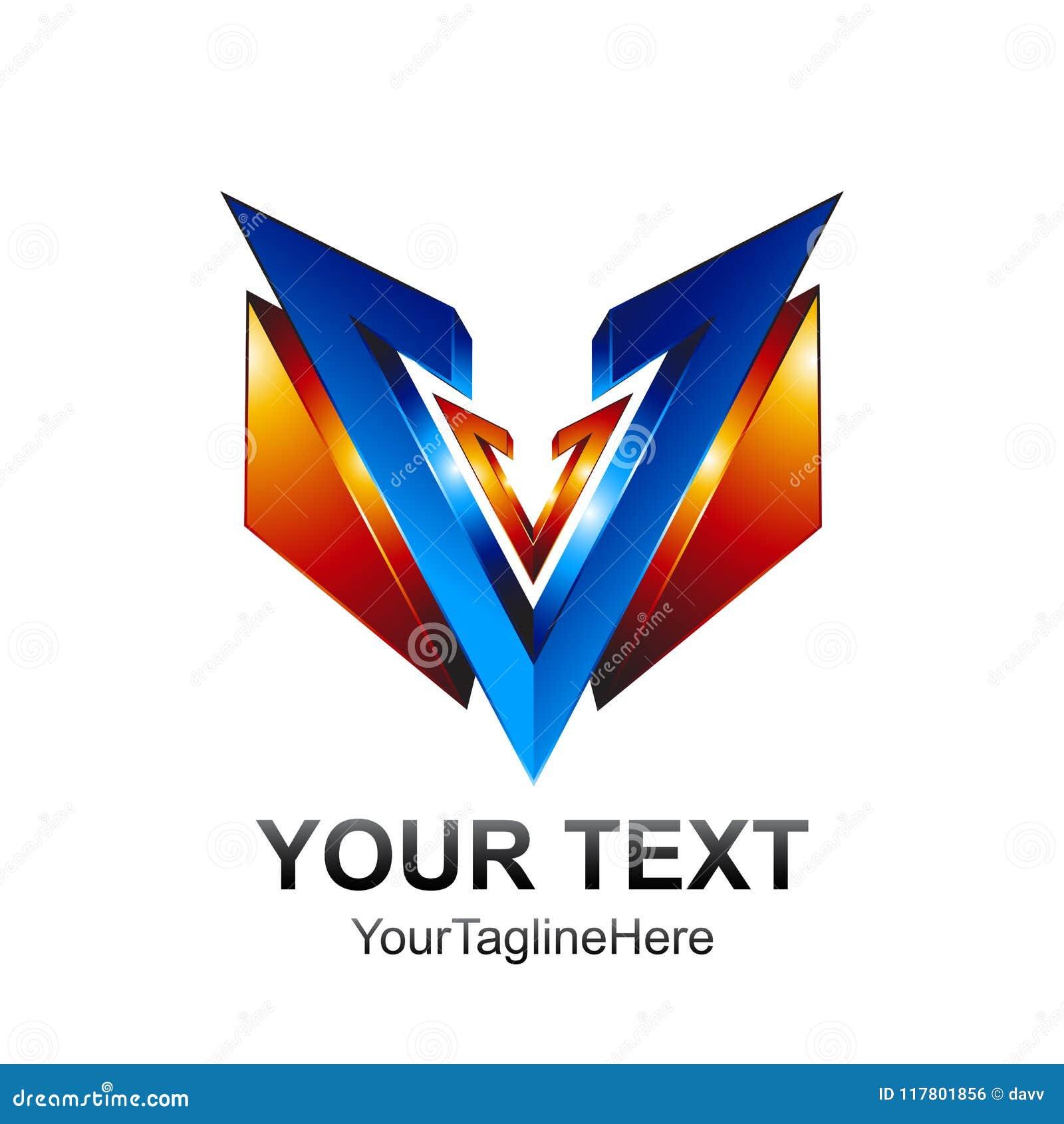 initial letter v logo template colored blue orange 3d shield des
