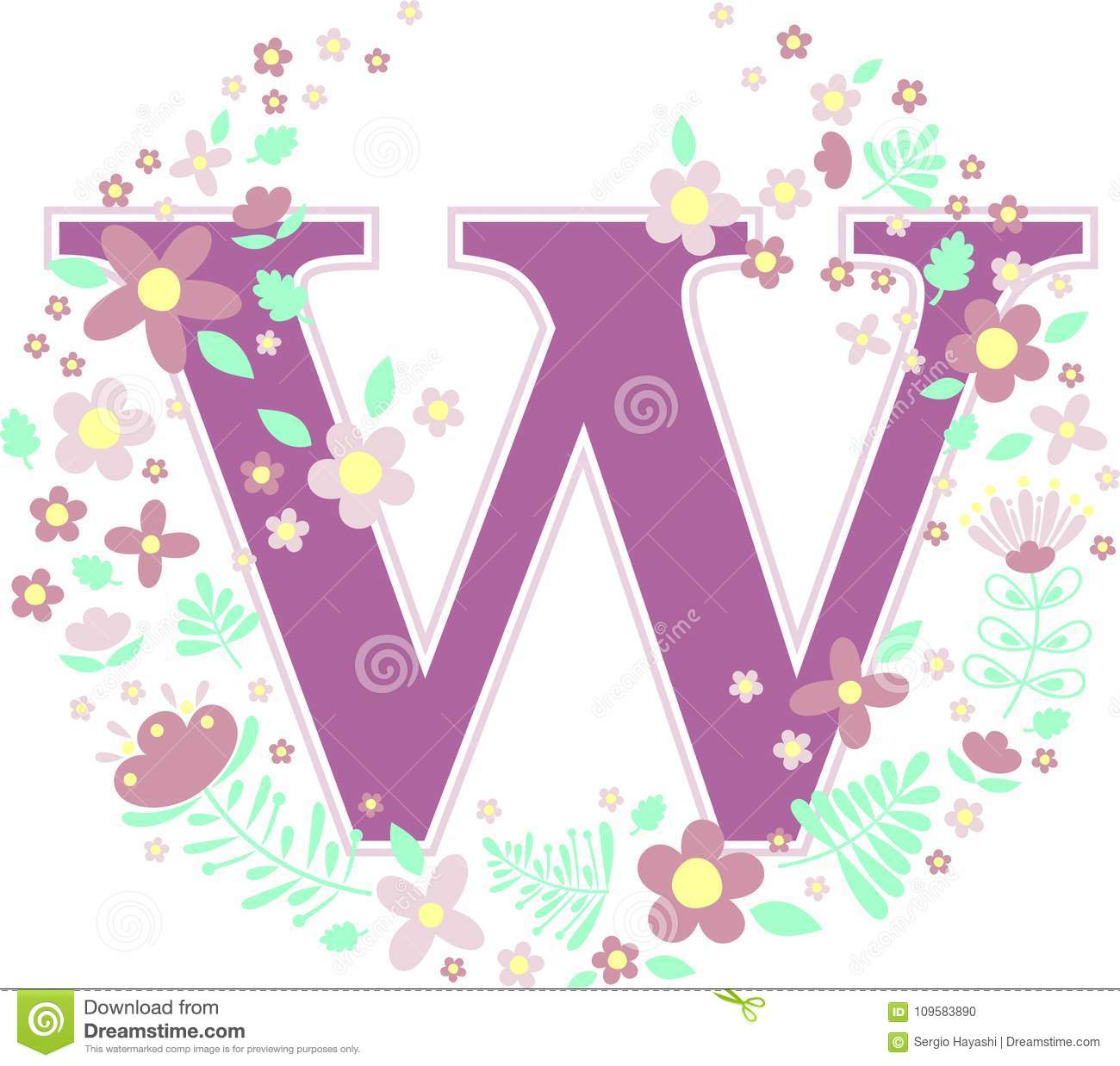 Baby Name Initial W With Flowers Stock Vector - Illustration