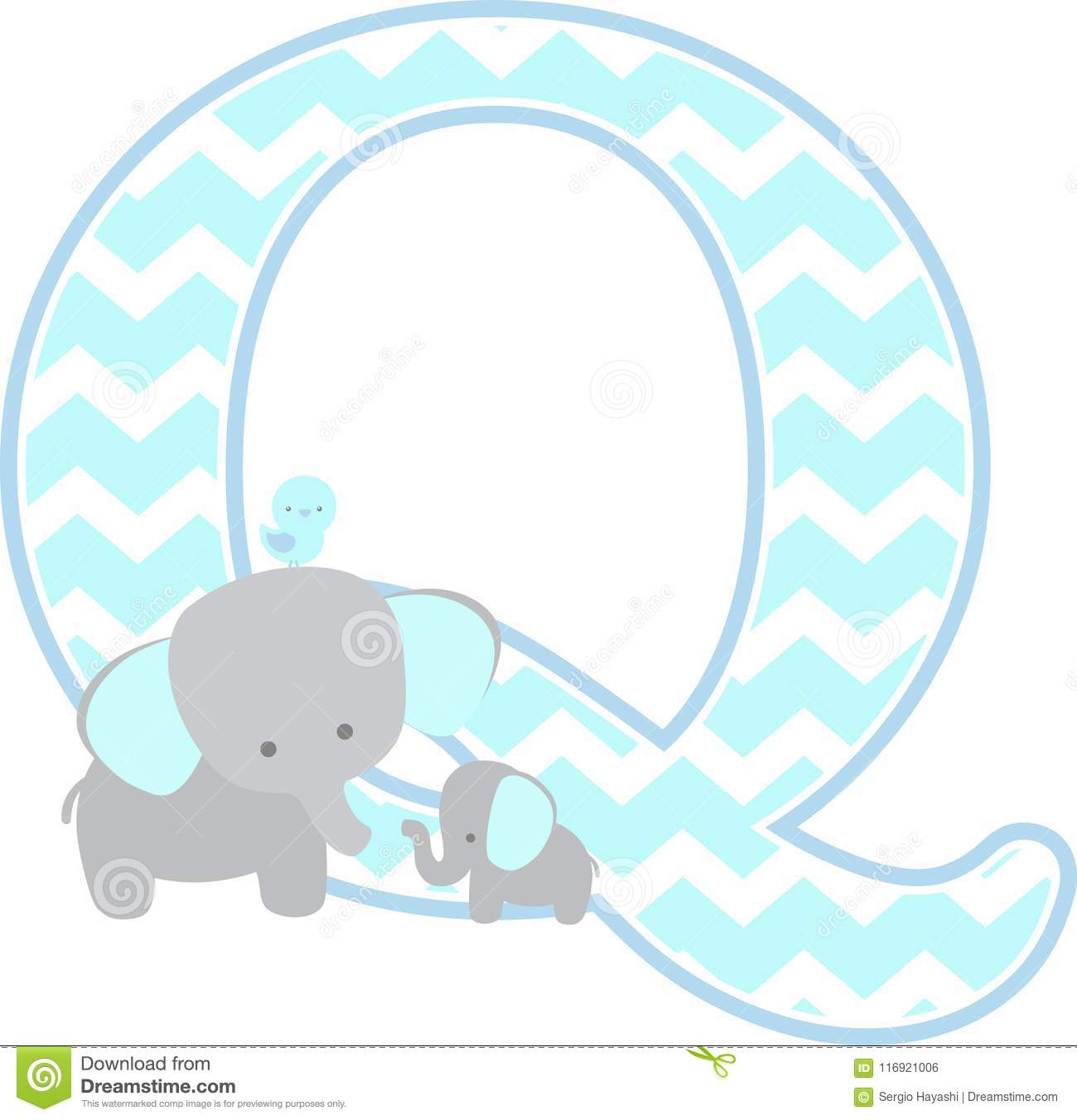 ed9dbbeb754cd Initial Q With Cute Elephant And Little Baby Elephant Stock Vector ...