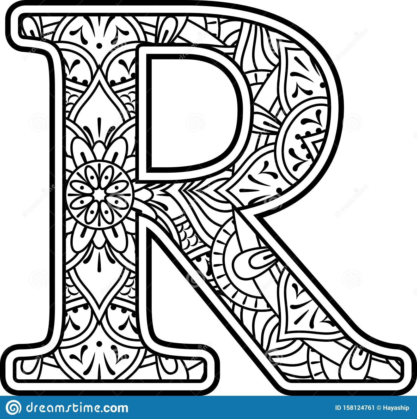 initial r doodle mandala coloring therapy stock vector