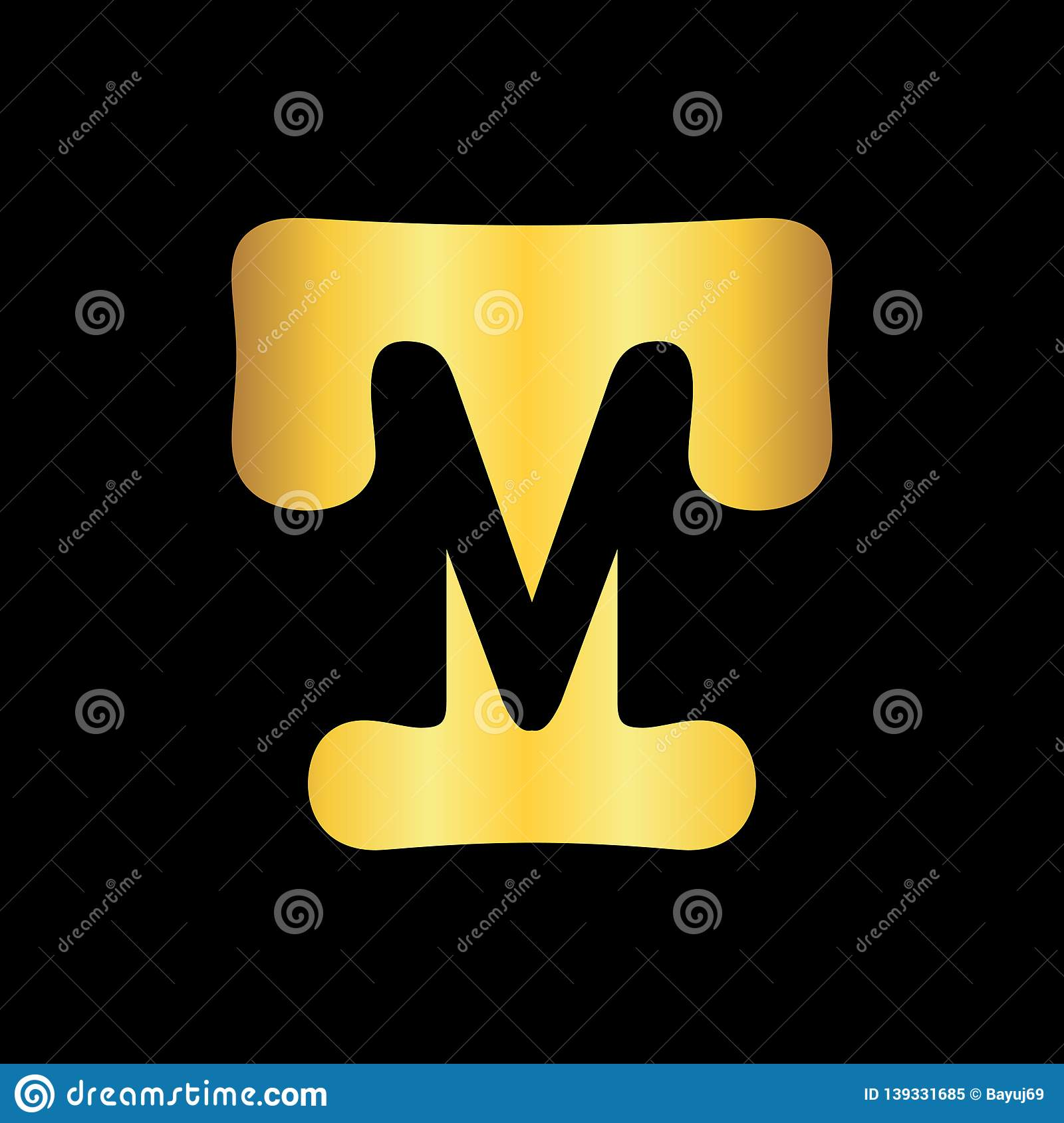 Initial TM Letter Logo Design Template Stock Vector