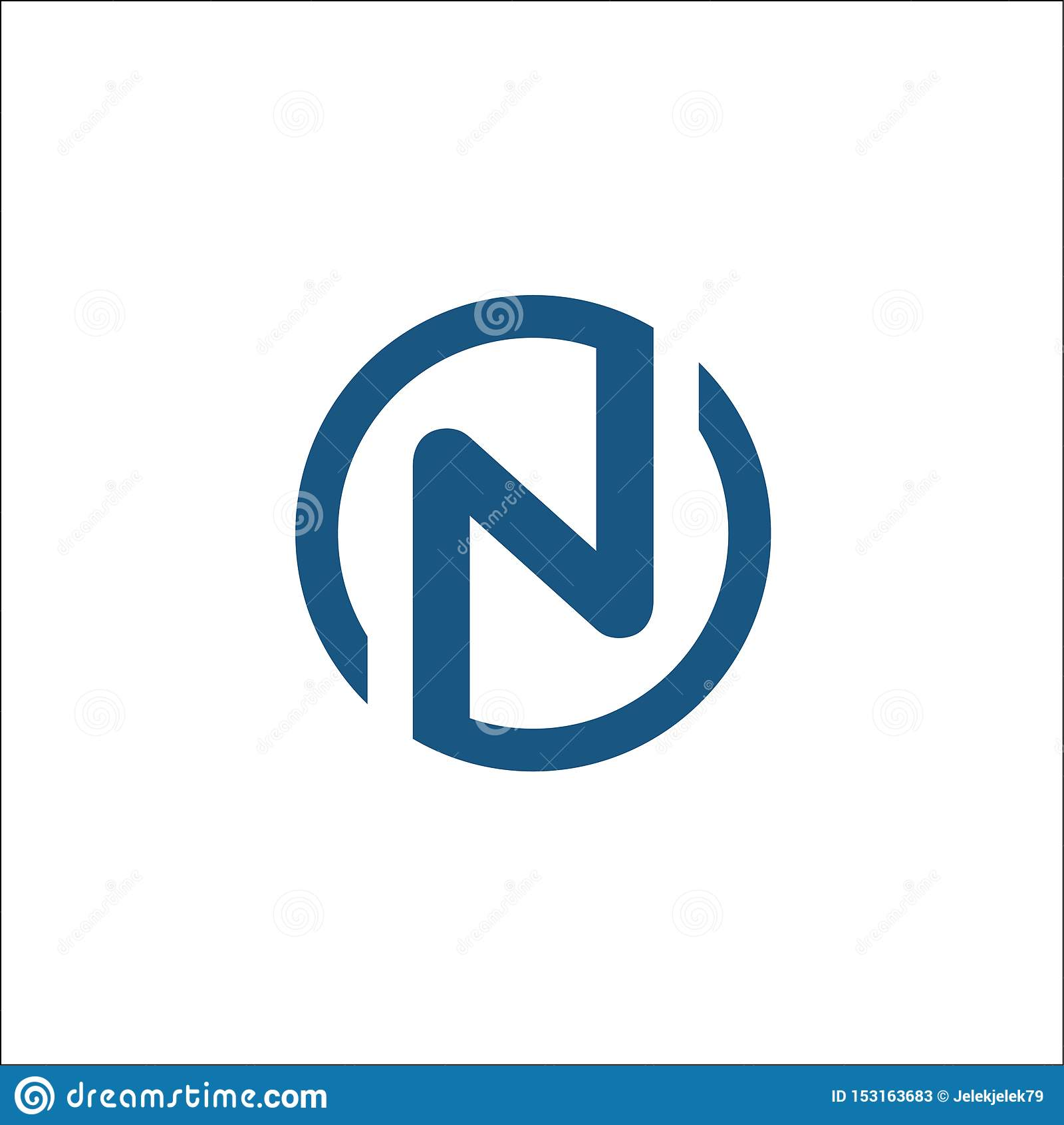 Initialen n-het vectormalplaatje van het cirkelembleem, brievenn cirkel
