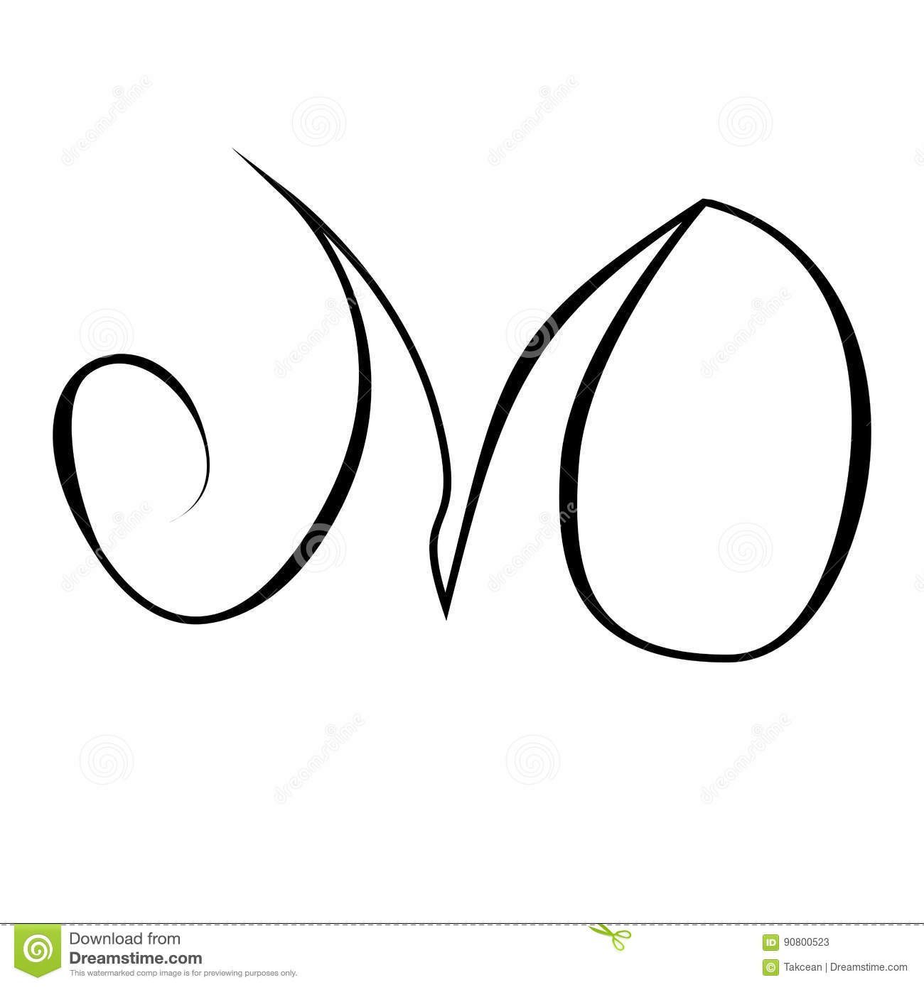 Initials Lettering Hand Drawing Monogram M O Letter Grunge Sign