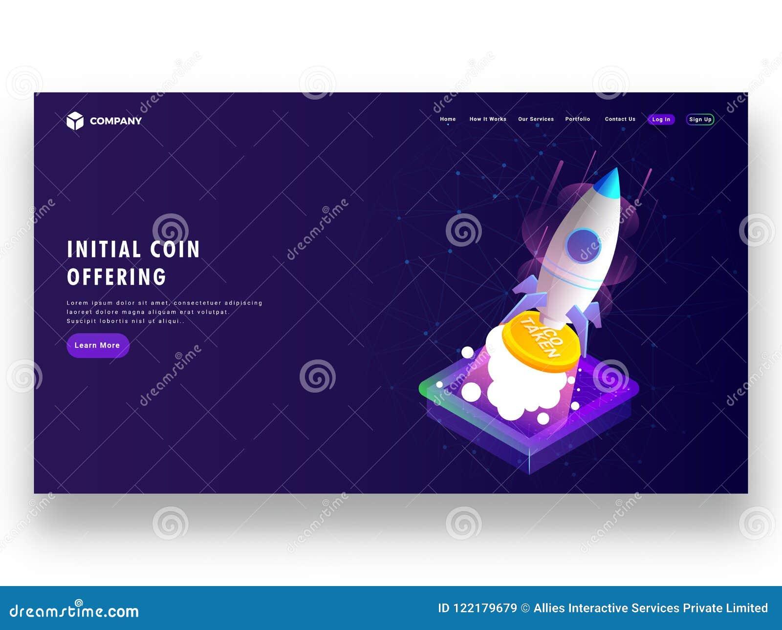 Initialt mynt som erbjuder ICO startup begrepp baserad landningsida D