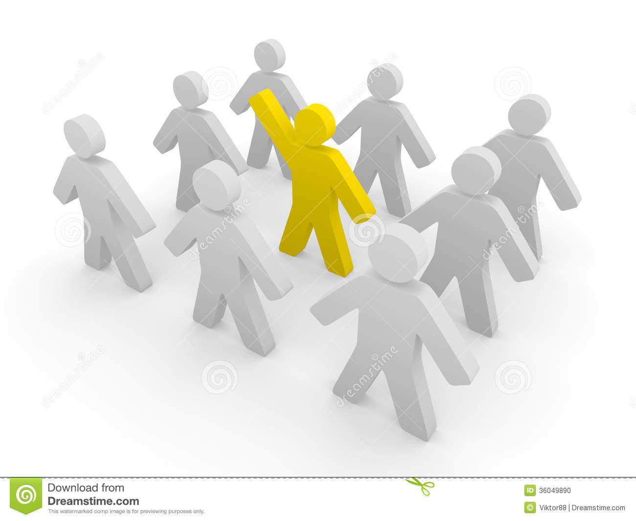 Yellow 3d human standing with raised hand inside crowd of grey people