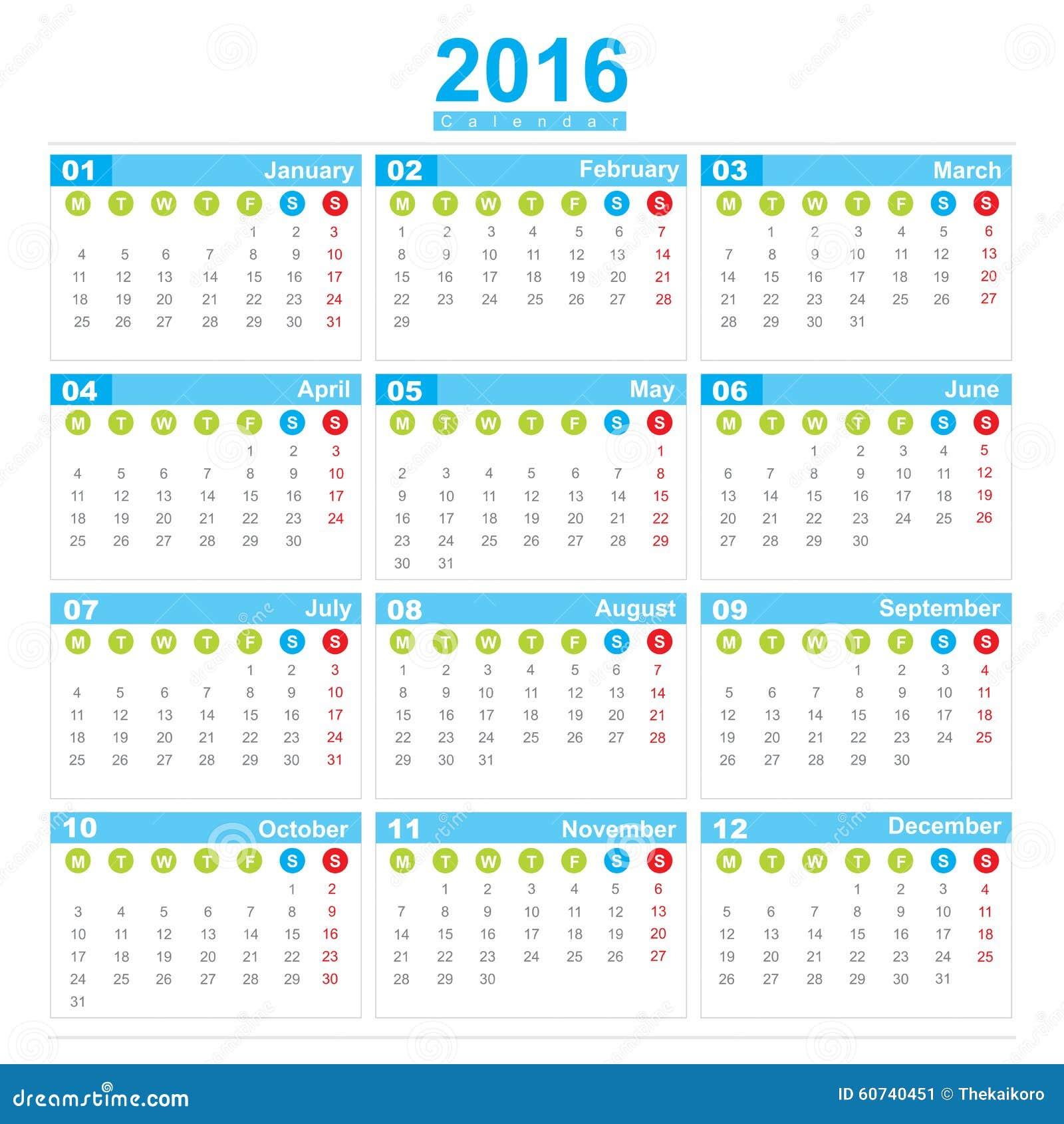 Calendario Con Numero Settimane.Inizio Lunedi Di Settimana Di Calendario 2016 Illustrazione