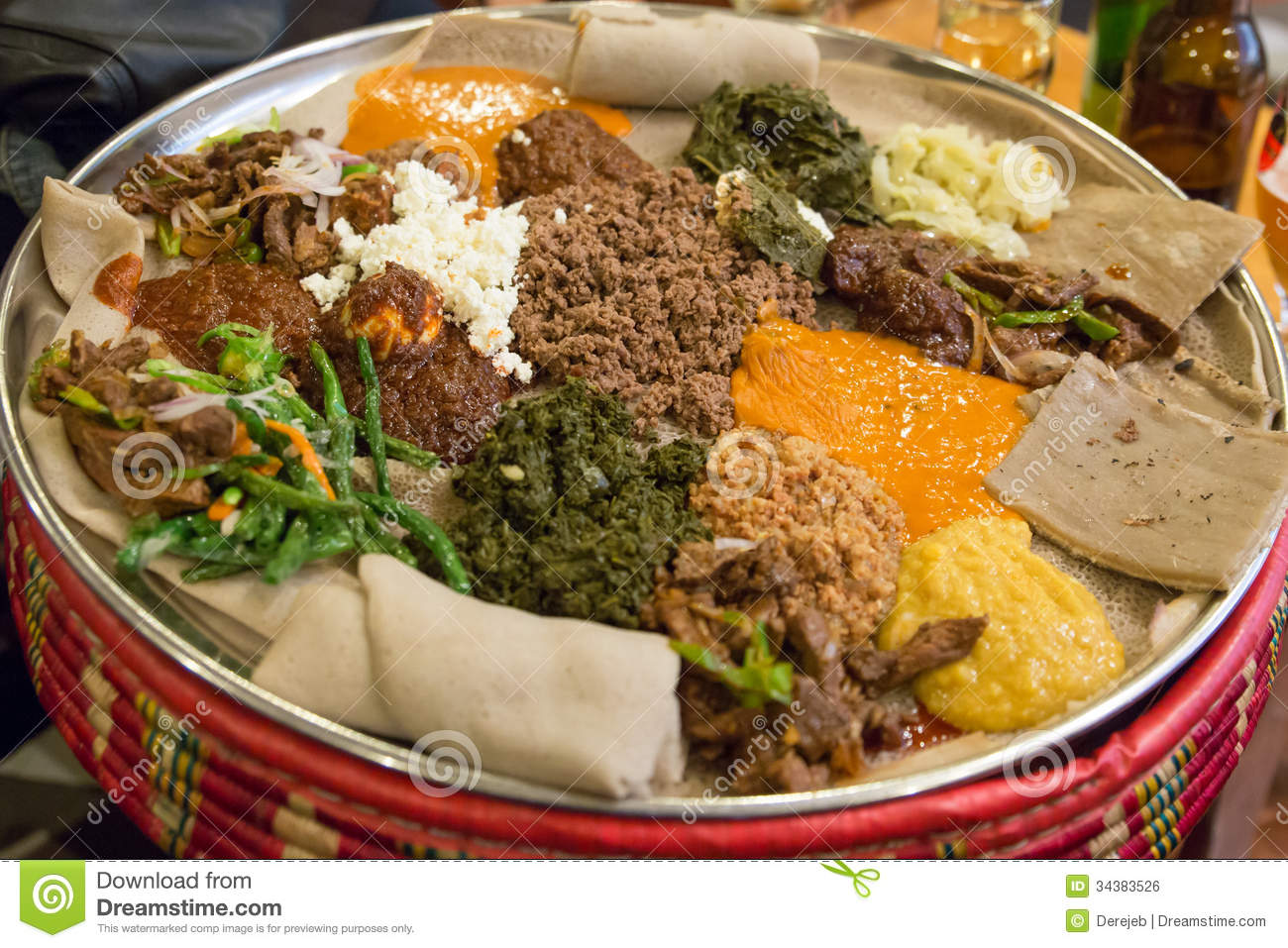 Injera be wot traditional ethiopian food royalty free for Authentic ethiopian cuisine