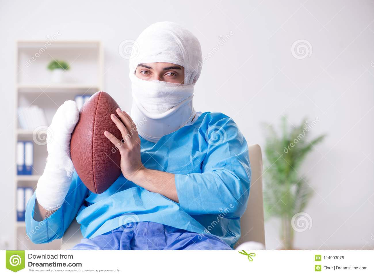 The injured american football player recovering in hospital