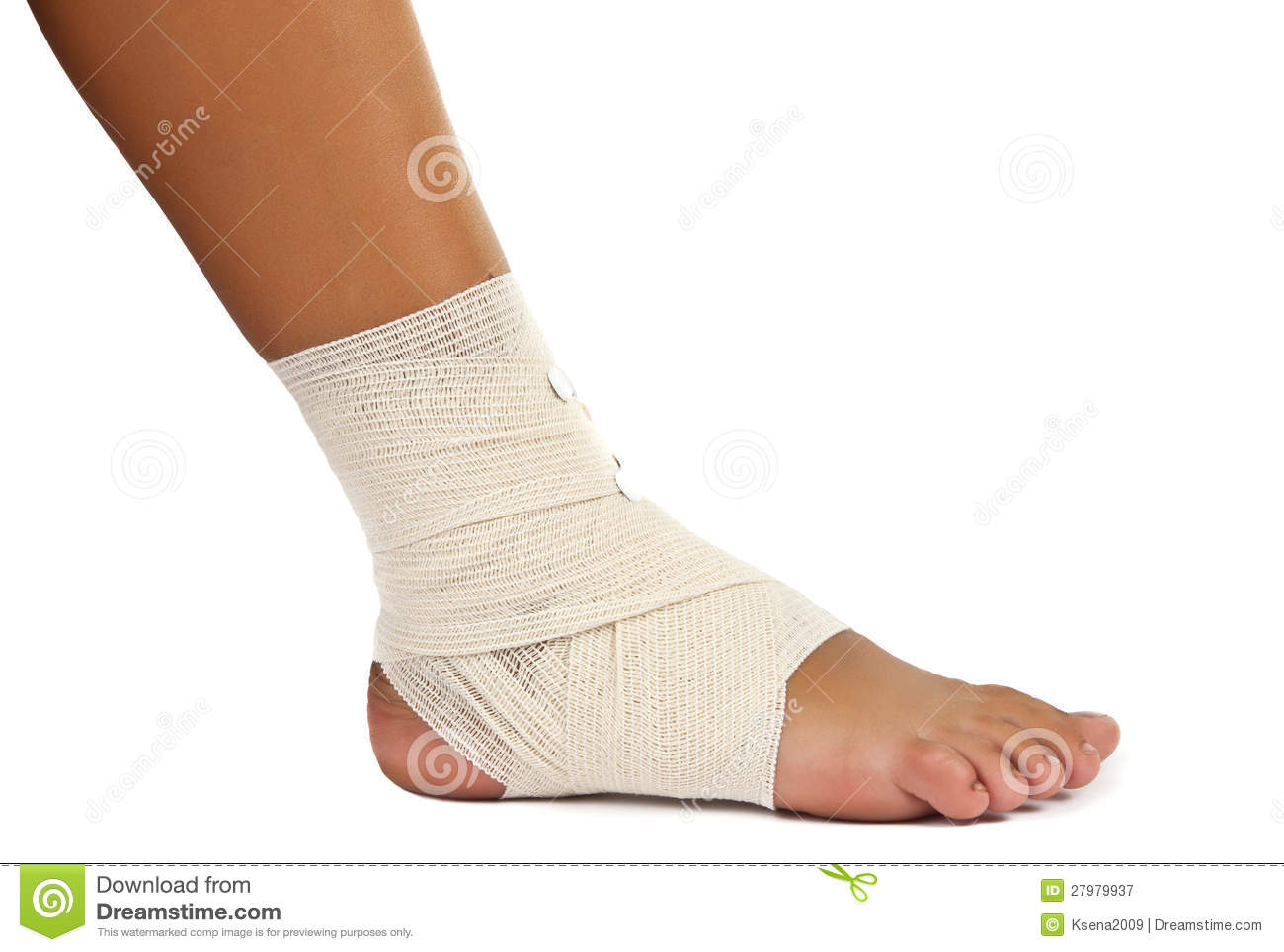 Injured Ankle With Bandage Royalty Free Stock Photography - Image ...