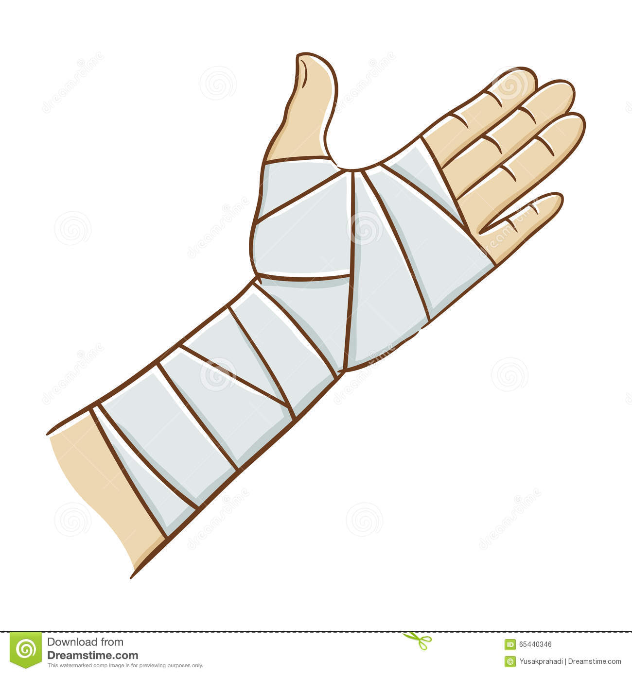 Injured Hand Wrapped In Elastic Bandage Vector ...