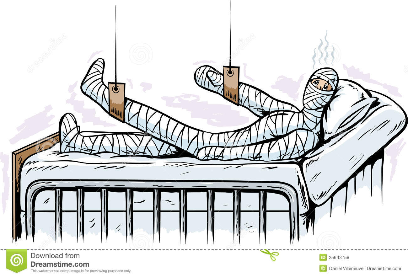 Cartoon of a man in a body cast in a hospital