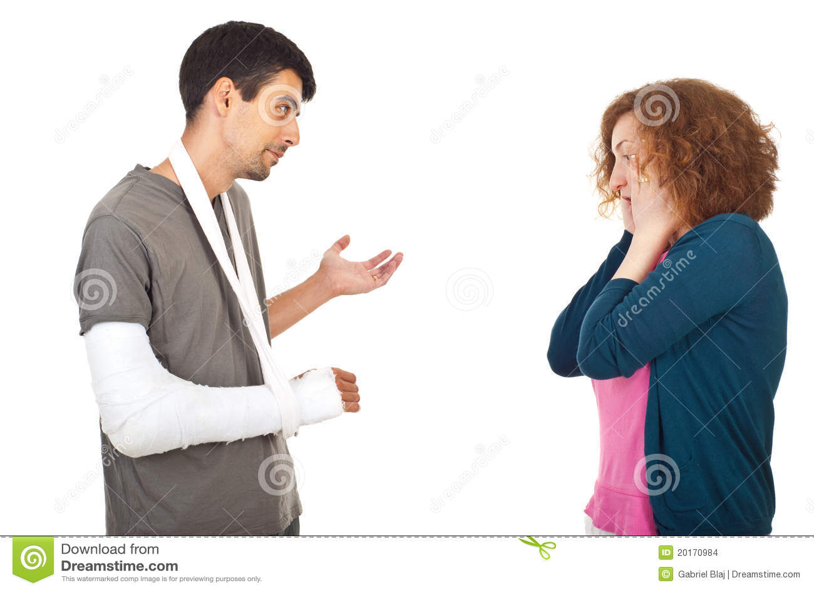 injured man explain to worried wife stock images image director clipart free director clipart gif