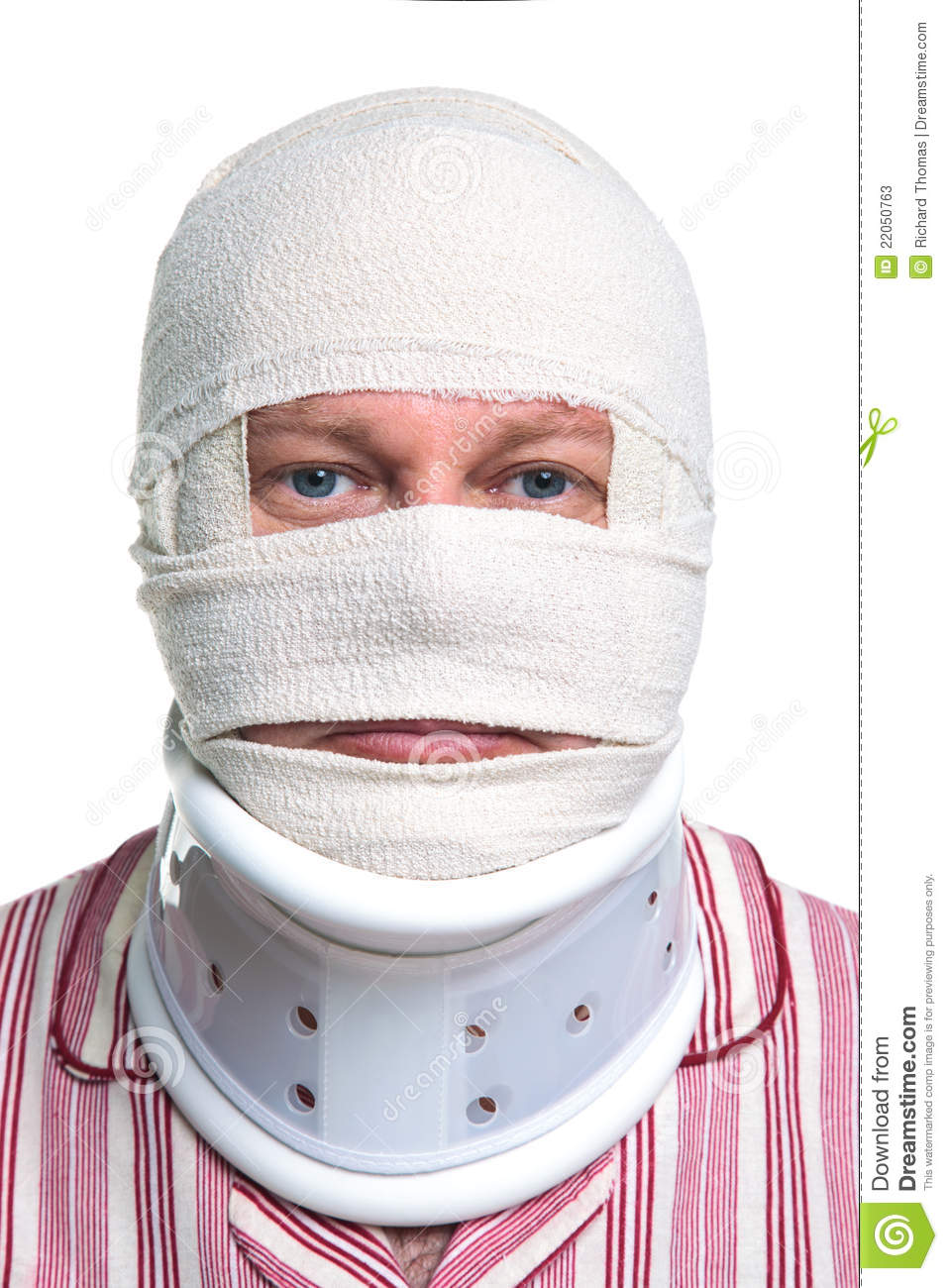 Injured Man With A Head Bandage Stock Photos - Image: 22050763