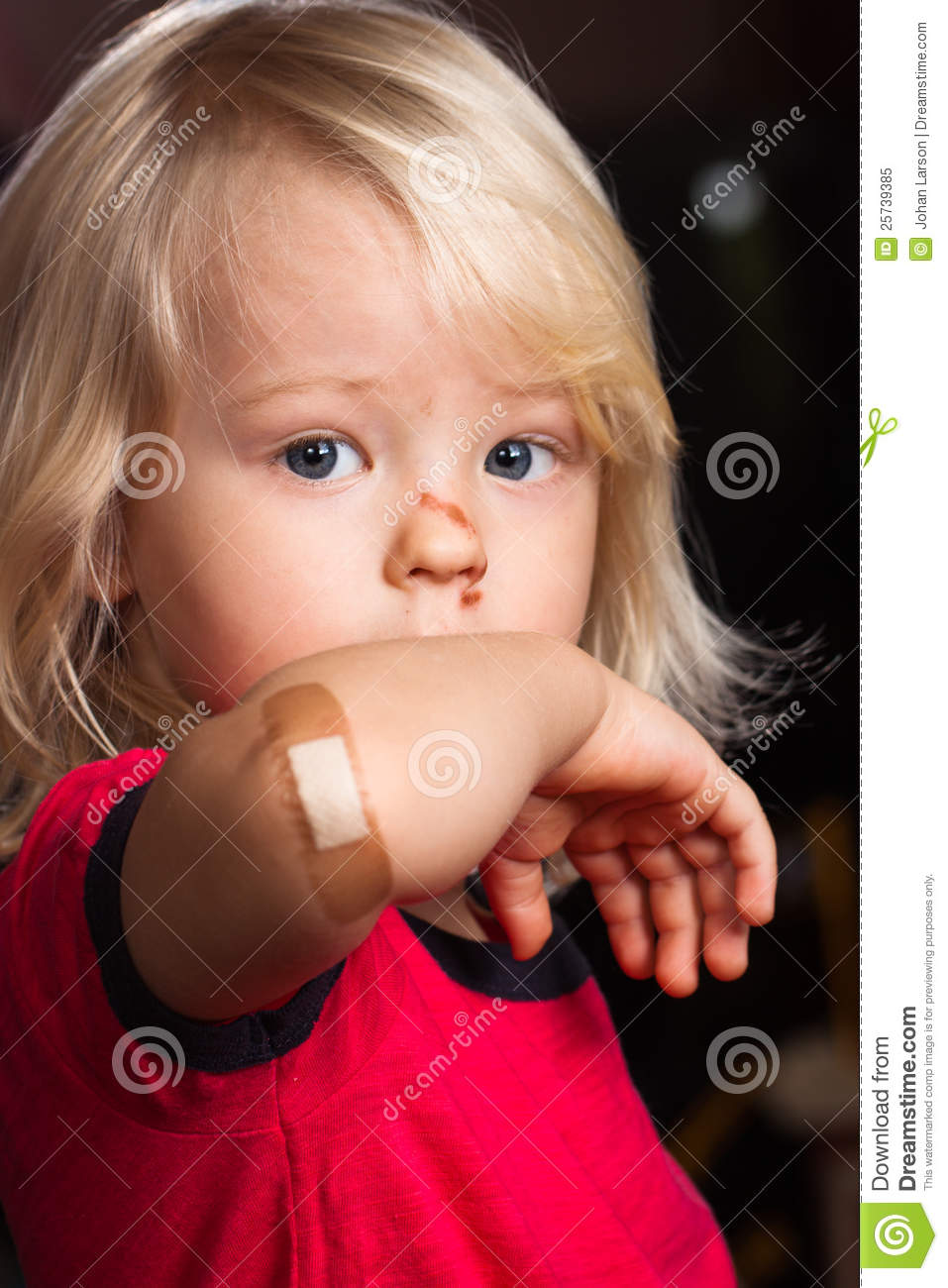 Injured Sad Boy With Band Aid On Elbow Royalty Free Stock