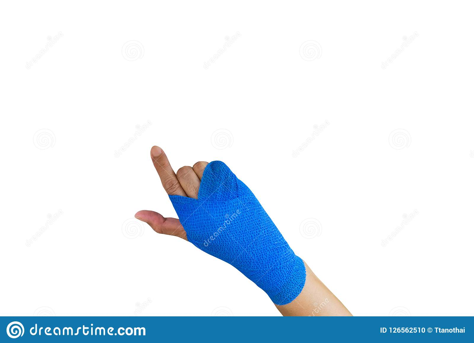 injured woman with blue elastic bandage on hand isolated on whit