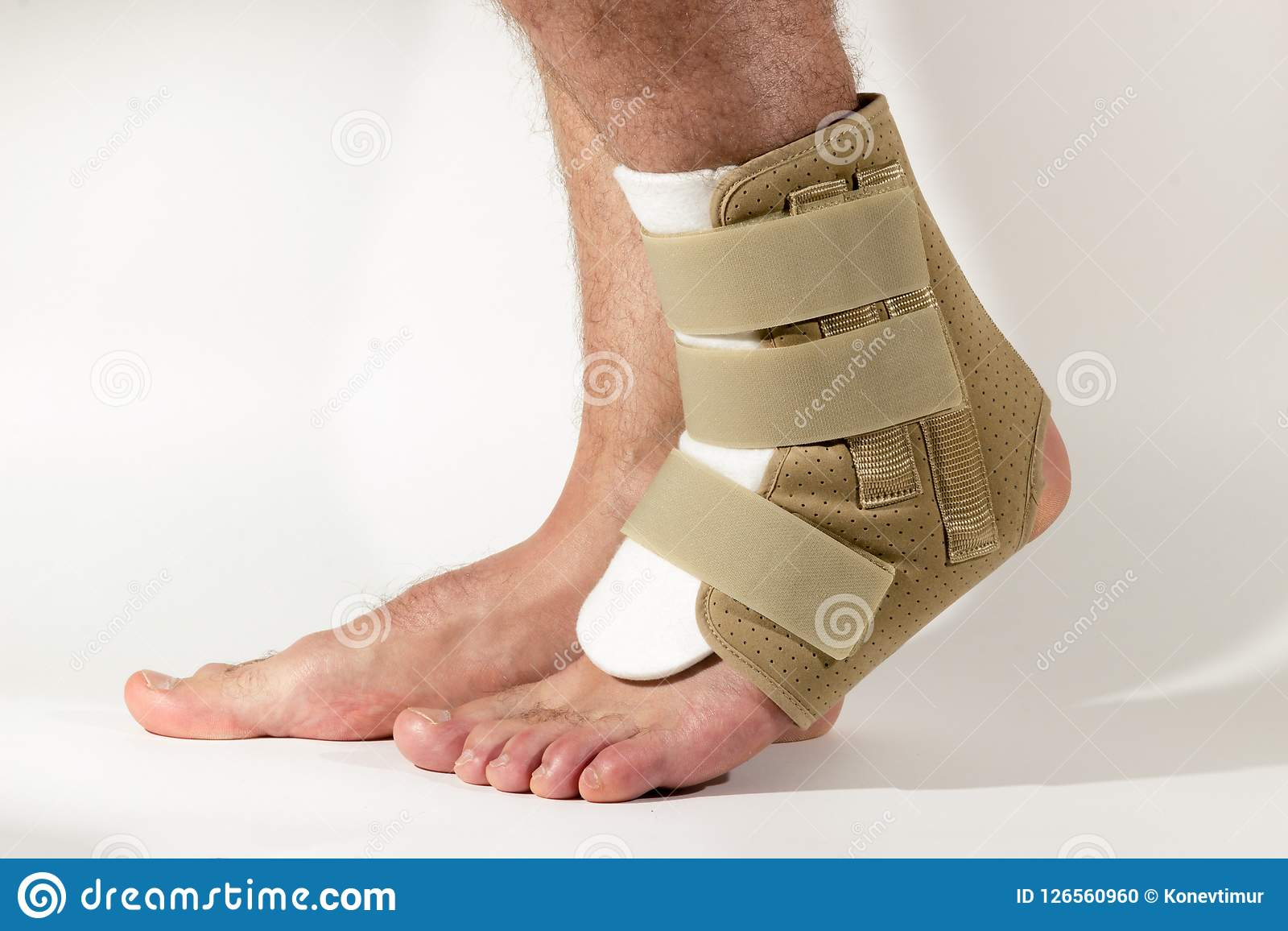 Injury of leg, sprain of ligaments. Bandage on the foot. The con
