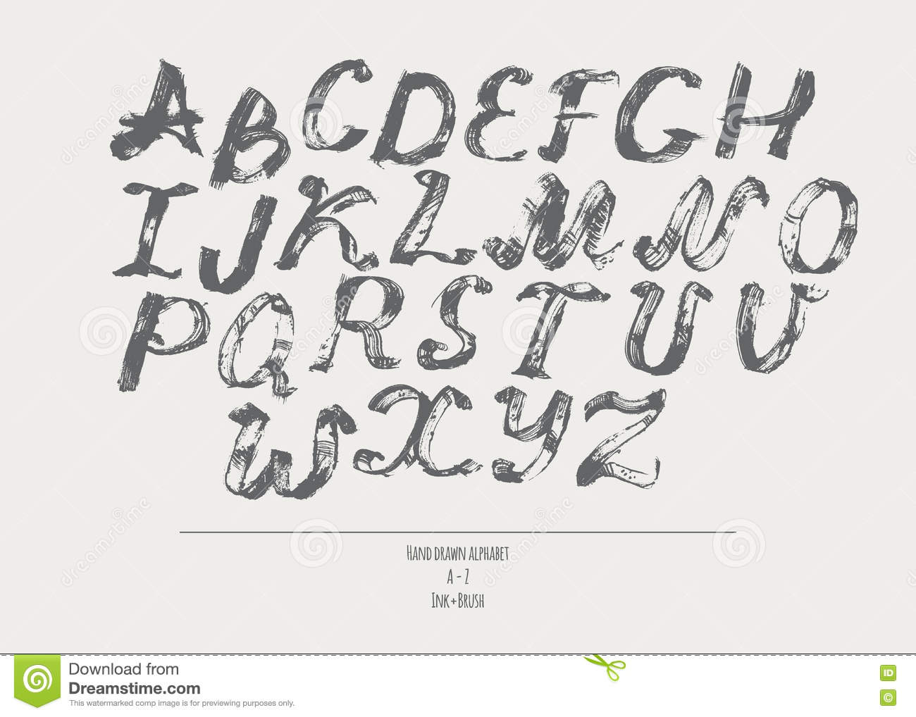 Ink Alphabet A To Z Freehand Stylish Illustration Made