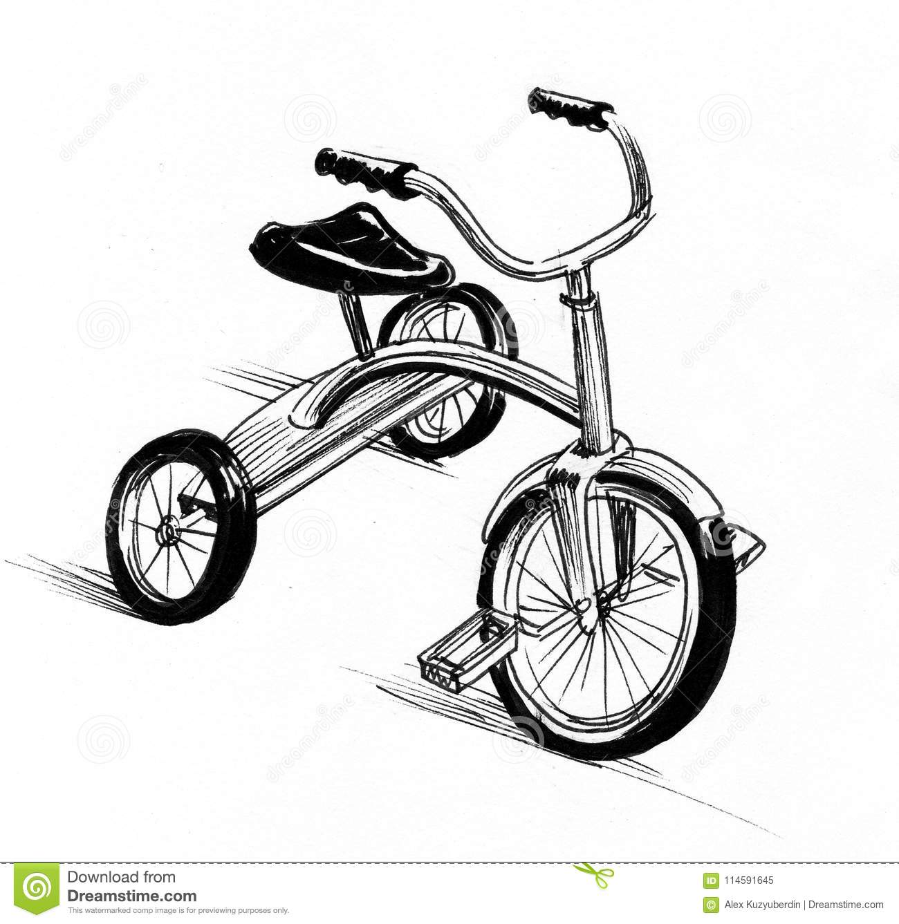 Tricycle Sketch Stock Illustration Illustration Of Sketch 114591645