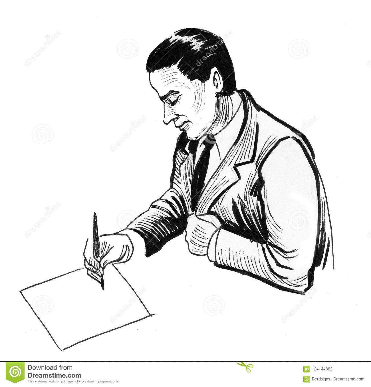 Ink black and white drawing of a man writing on a sheet of paper