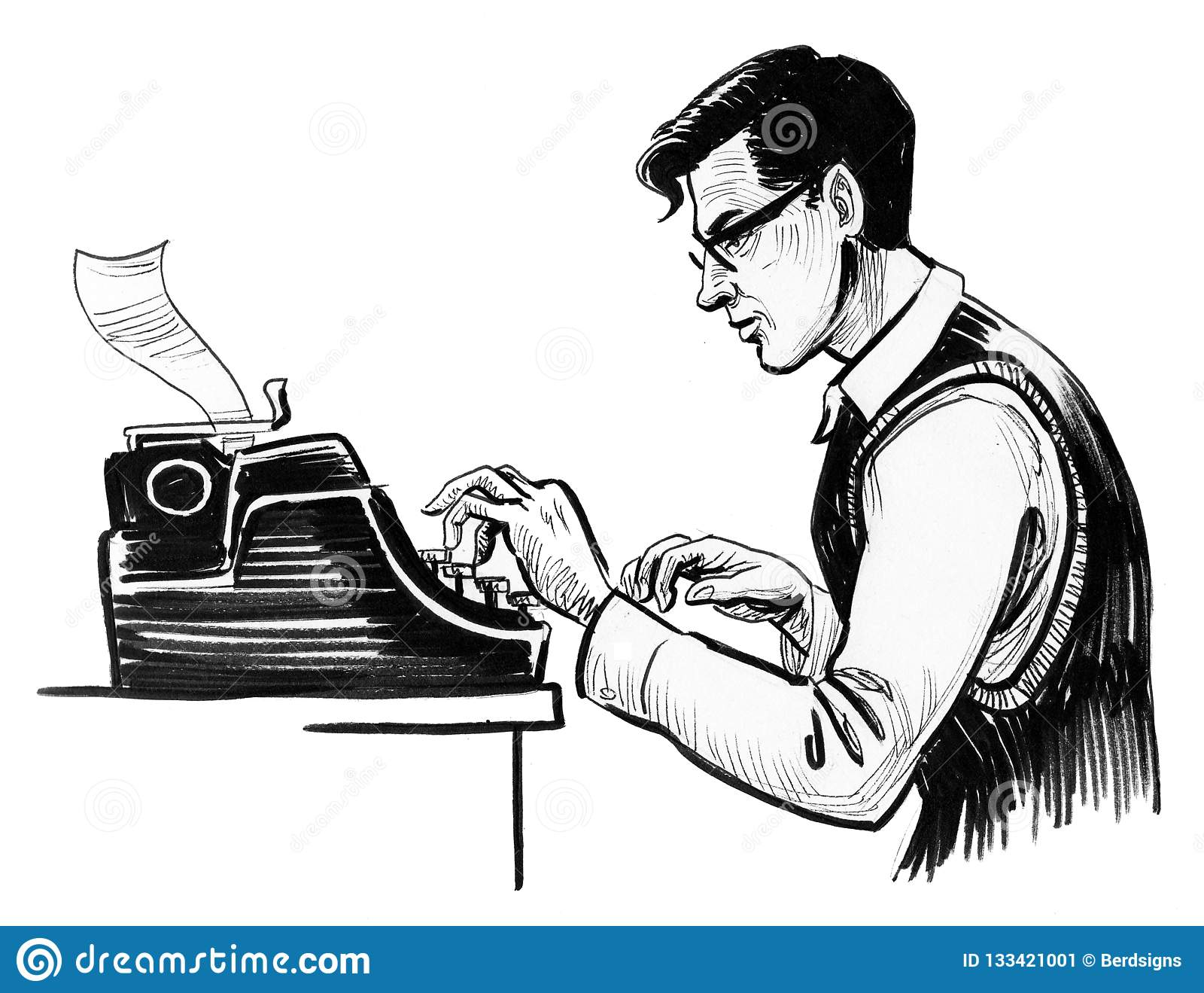 Busy writer stock illustration. Illustration of character - 133421001