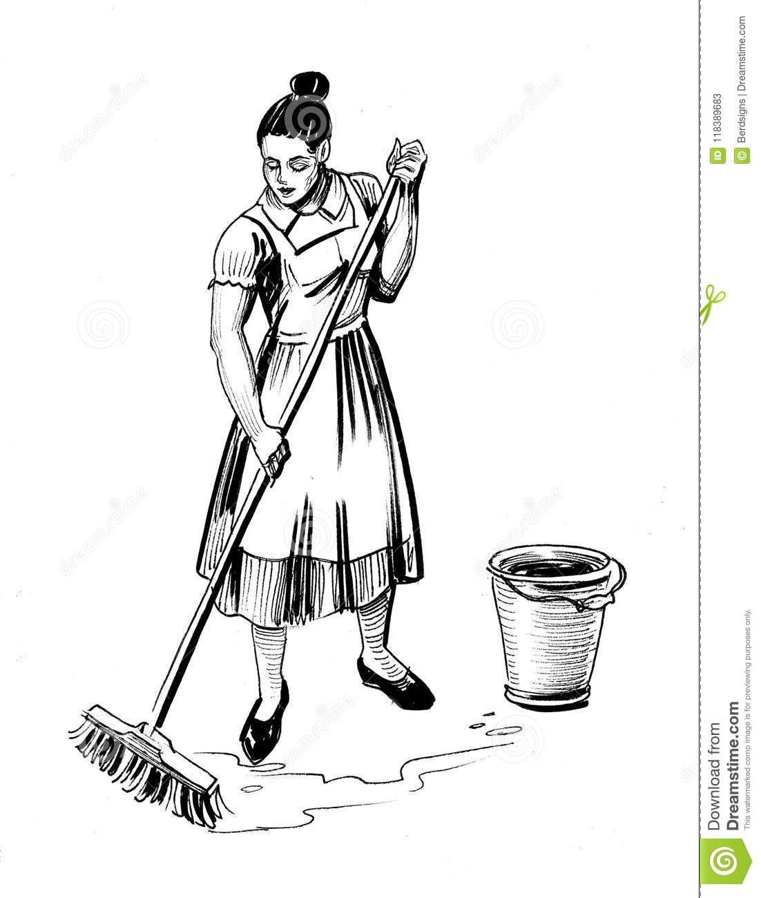 woman mopping floor stock illustration illustration of white 118389683 https www dreamstime com ink black white illustration housewife mopping floor woman mopping floor image118389683