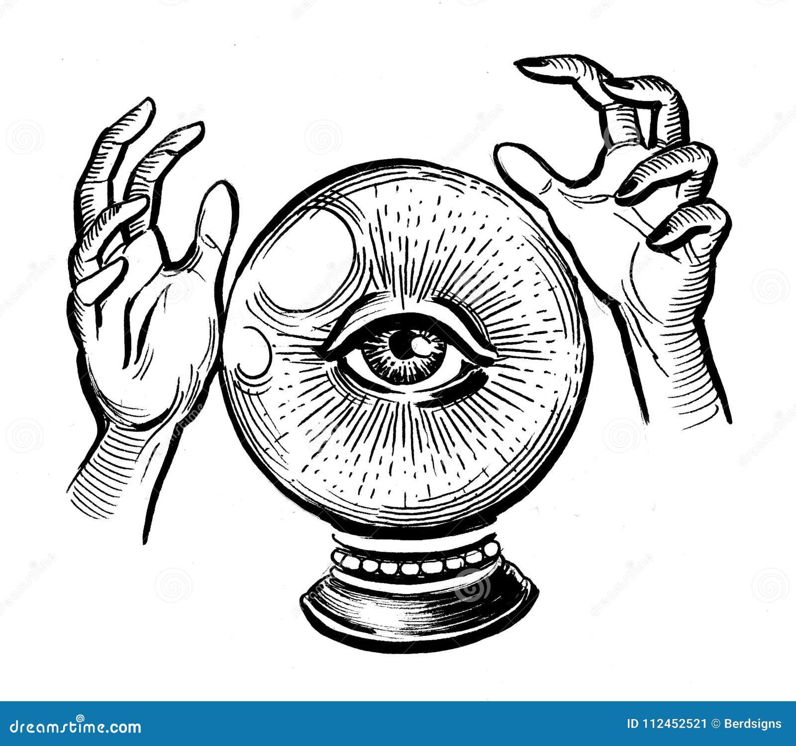 Eye and crystal ball stock illustration  Illustration of black