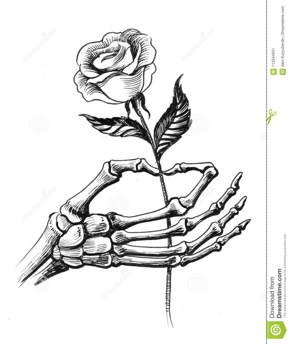 Skeleton hand with a rose stock illustration illustration of ink black and white illustration of a skeleton hand holding a rose flower mightylinksfo