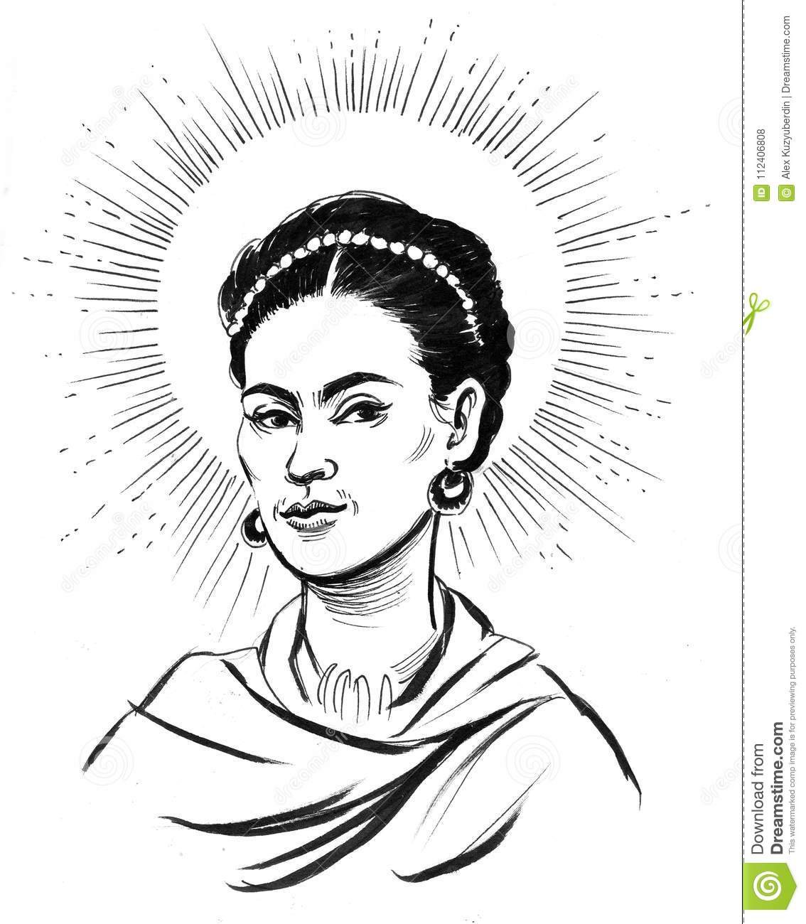 Ink black and white portrait of a mexican artist frida kahlo