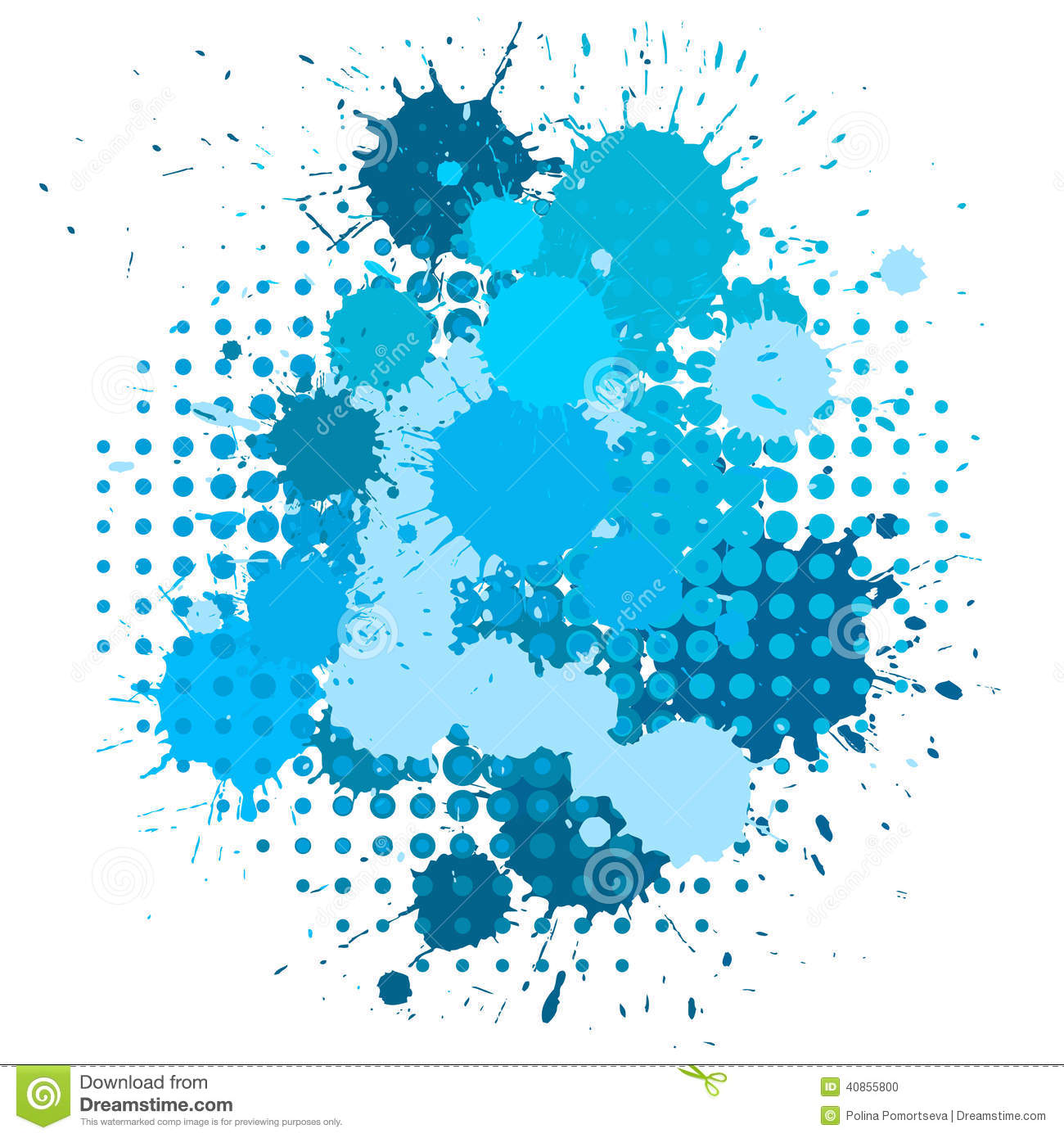 Ink Blots And Halftone Pattern Stock Vector Image 40855800
