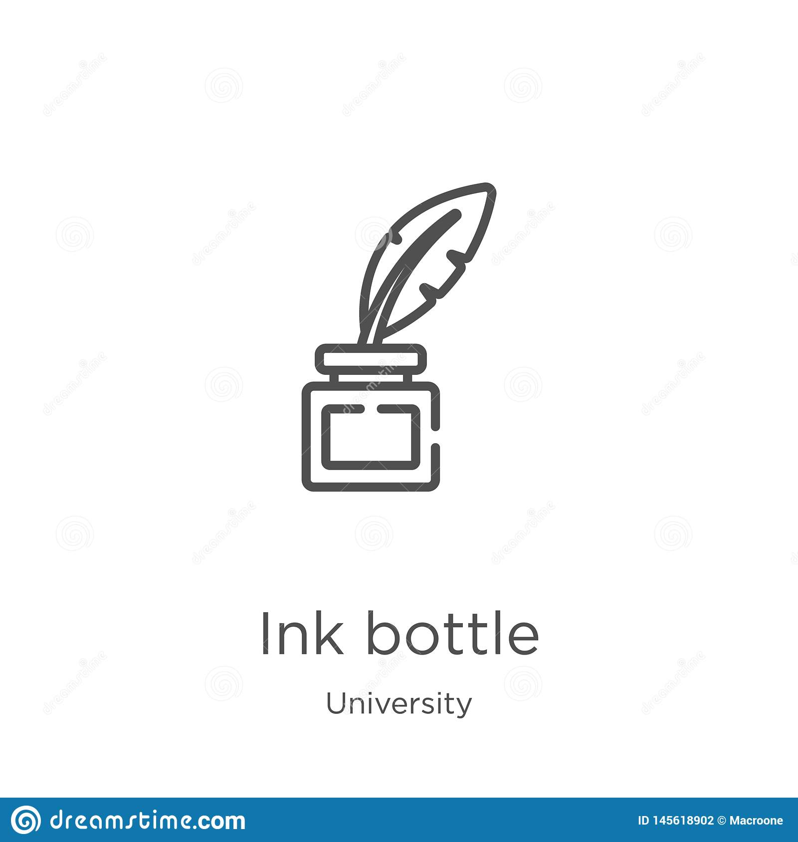 ink bottle icon vector from university collection. Thin line ink bottle outline icon vector illustration. Outline, thin line ink