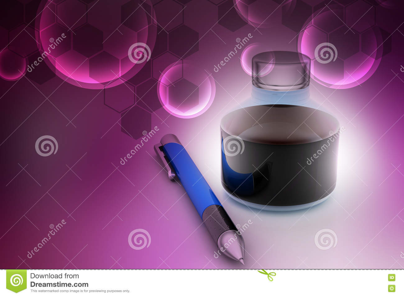 Ink bottle with pen