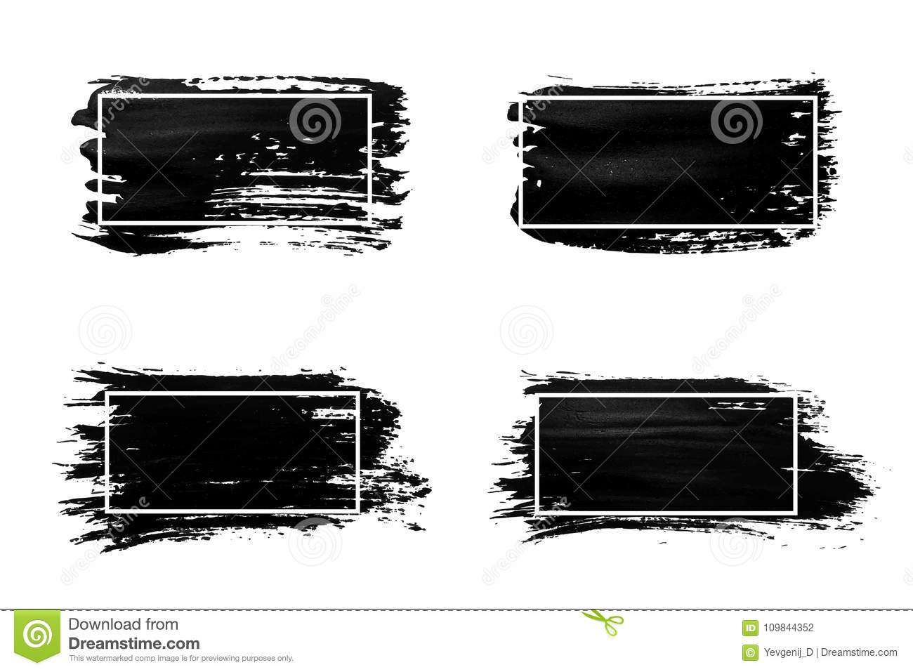 Grunge Camera Vector : Ink brush strokes set. acrylic paint with grunge texture strokes