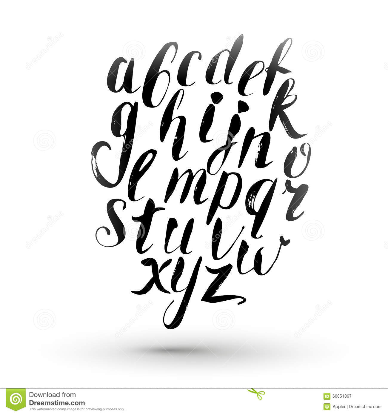 Ink calligraphy english alphabet. Vector isolated hand drawing letters ...