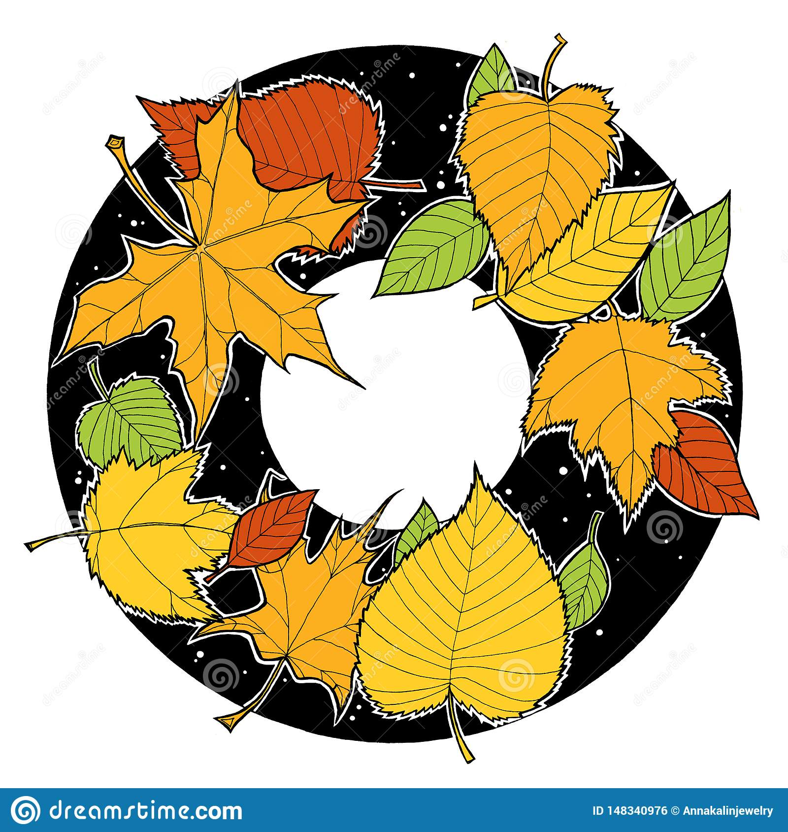 Ink drawing autumn foliage round frame, maple and birch leaves, green, orange, yellow