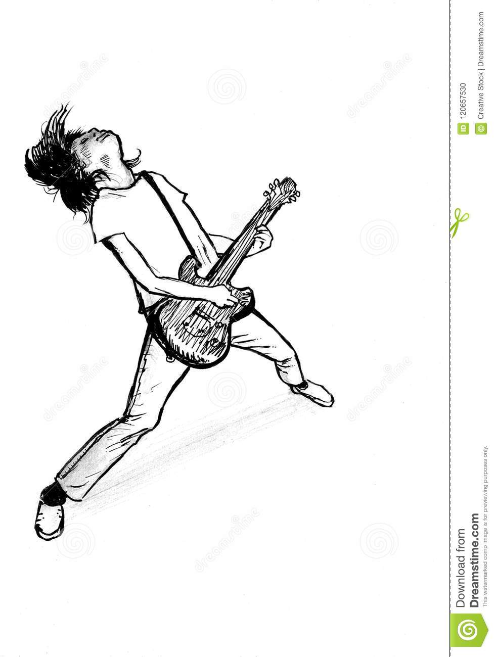 Man Plays Electric Guitar Ink Drawing Stock Illustration