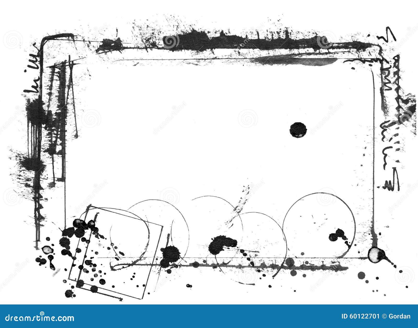 Ink Frame, Hand Painted Black On White, Nice Stock Illustration ...