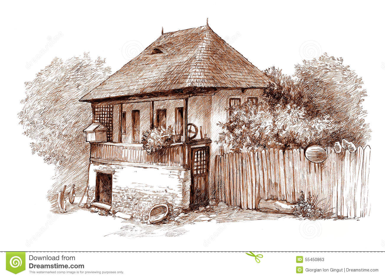 Ink Hand Drawing Country Architectural Landscape Stock Illustration ... for Countryside House Drawing  59dqh