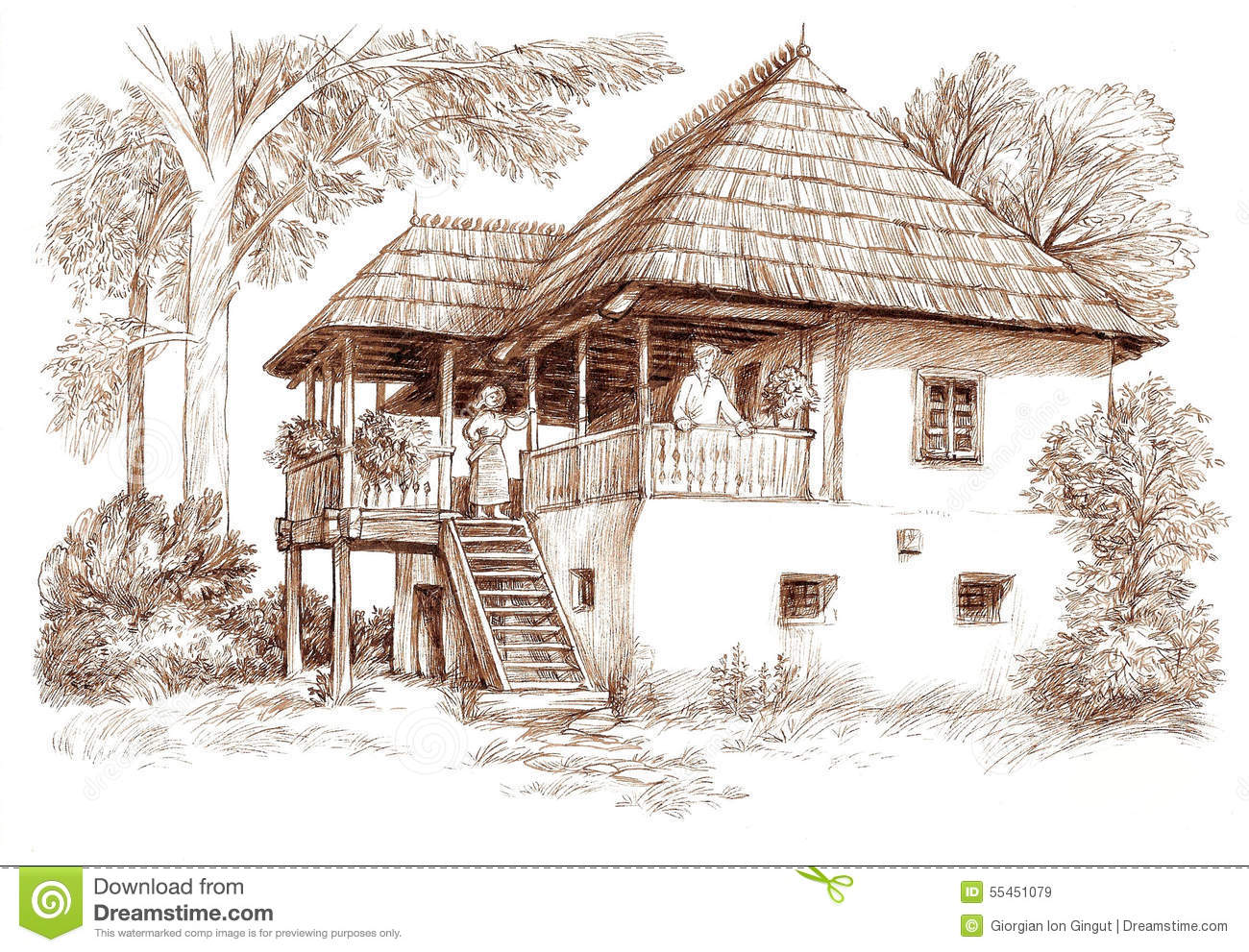 house landscape drawing. royaltyfree illustration download ink hand drawing country house landscape